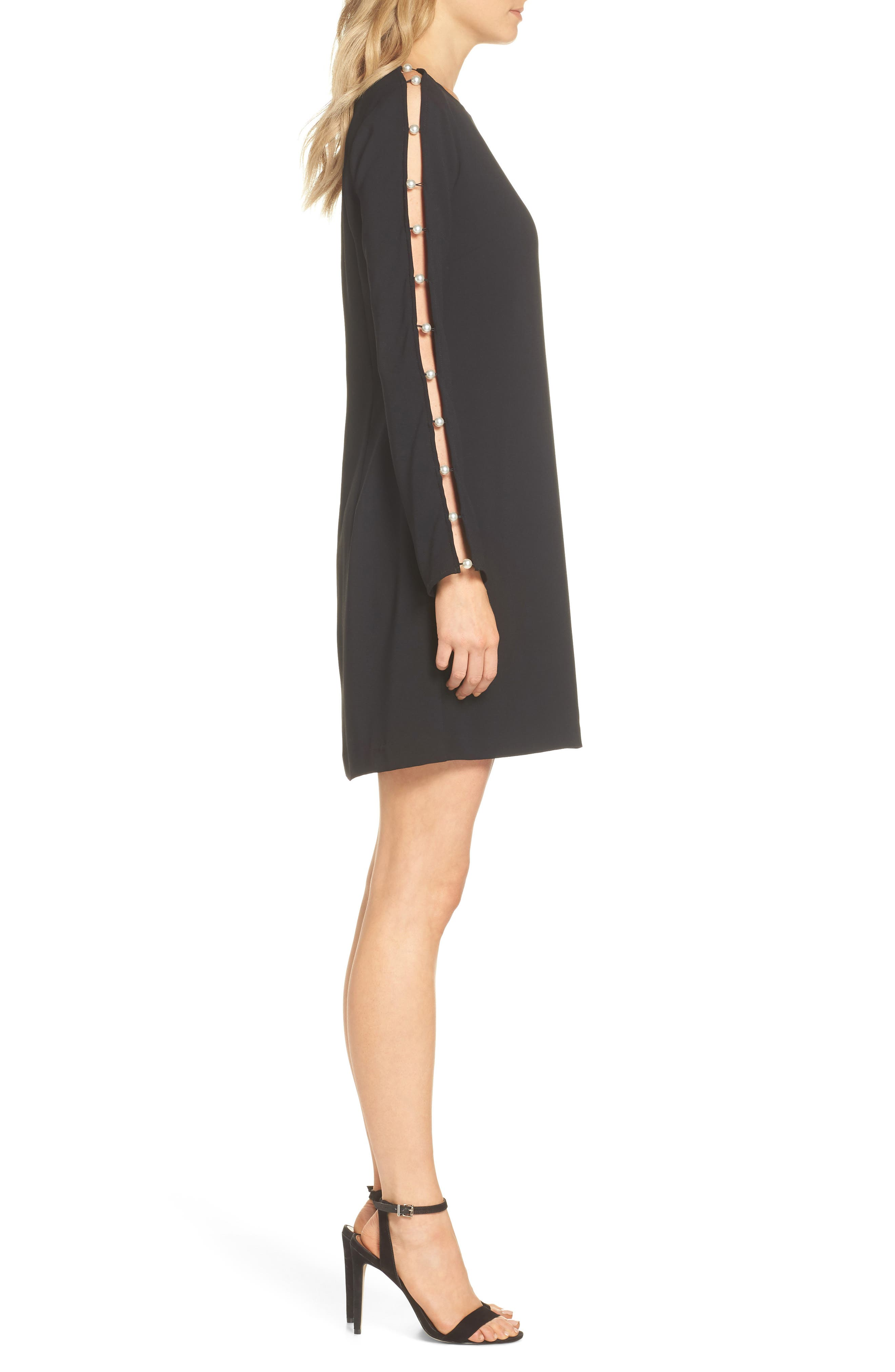 Beaded Sleeve Shift Dress,                             Alternate thumbnail 3, color,                             BLACK