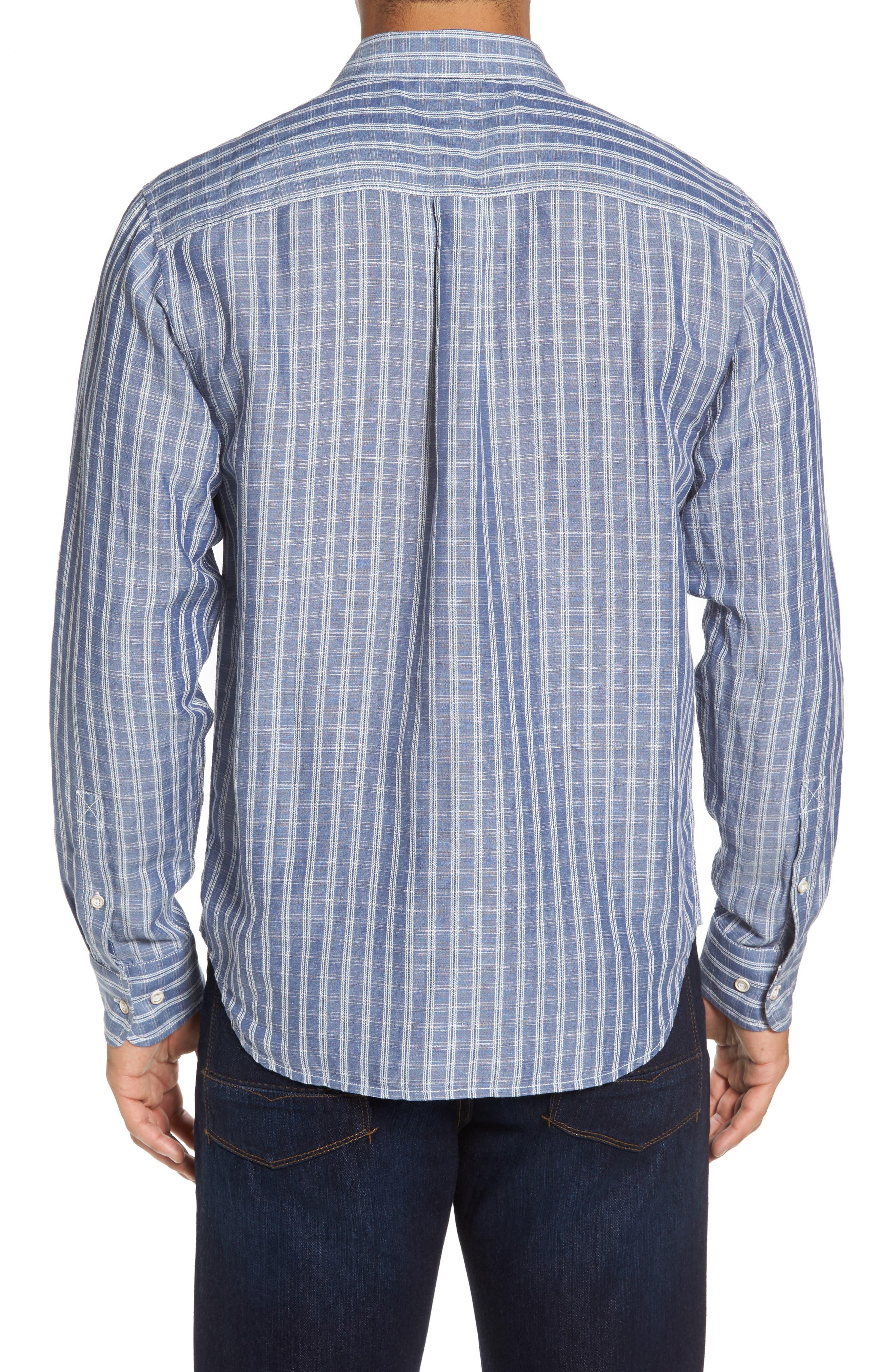 Plaid Sand Linen Blend Sport Shirt,                             Alternate thumbnail 5, color,