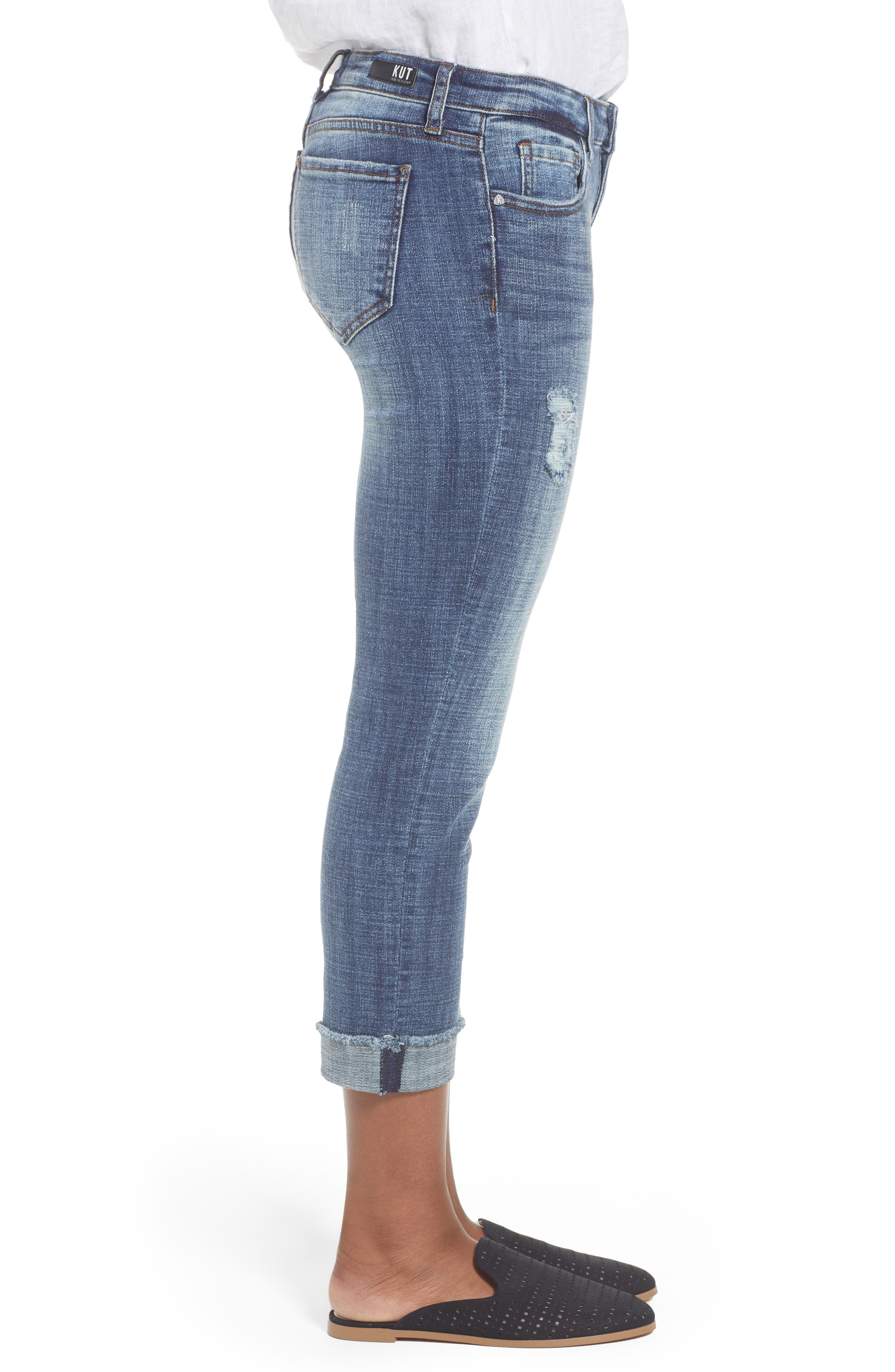 KUT FROM THE KLOTH,                             Amy Distressed Crop Jeans,                             Alternate thumbnail 3, color,                             400