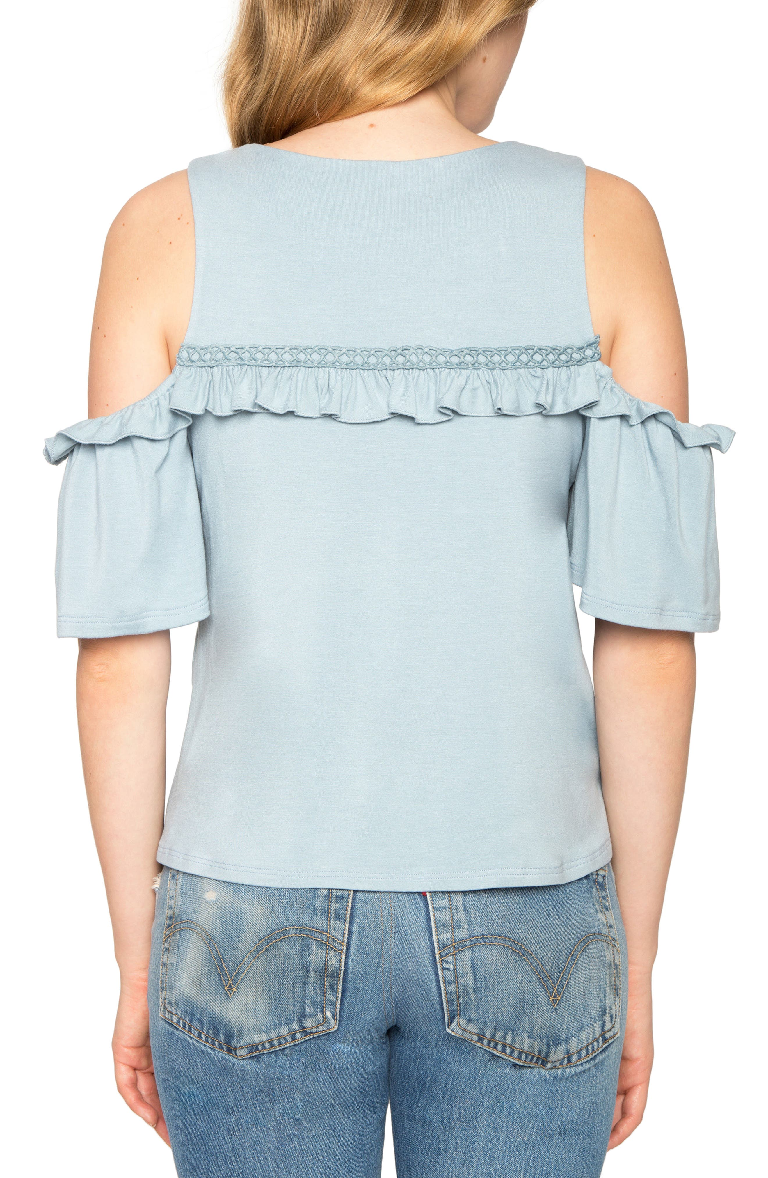 Ruffle Cold Shoulder Top,                             Alternate thumbnail 2, color,                             452