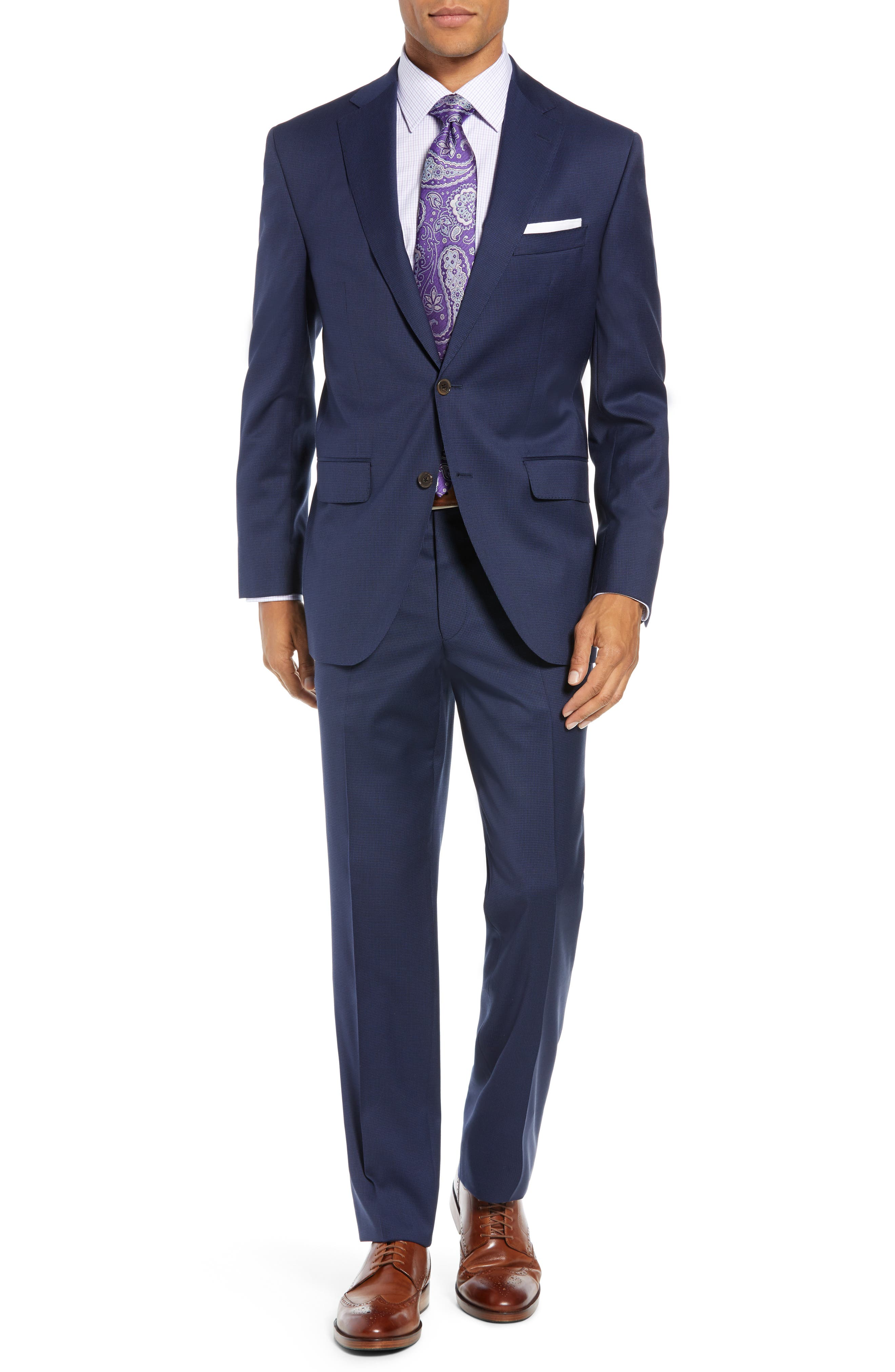 Ryan Classic Fit Houndstooth Wool Suit,                         Main,                         color, BLUE