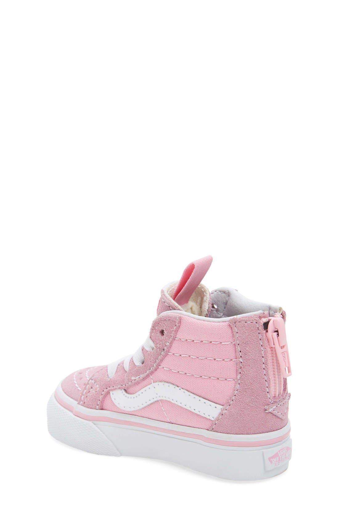 'Sk8-Hi Zip' Sneaker,                             Alternate thumbnail 3, color,                             PRISM PINK/ TRUE WHITE