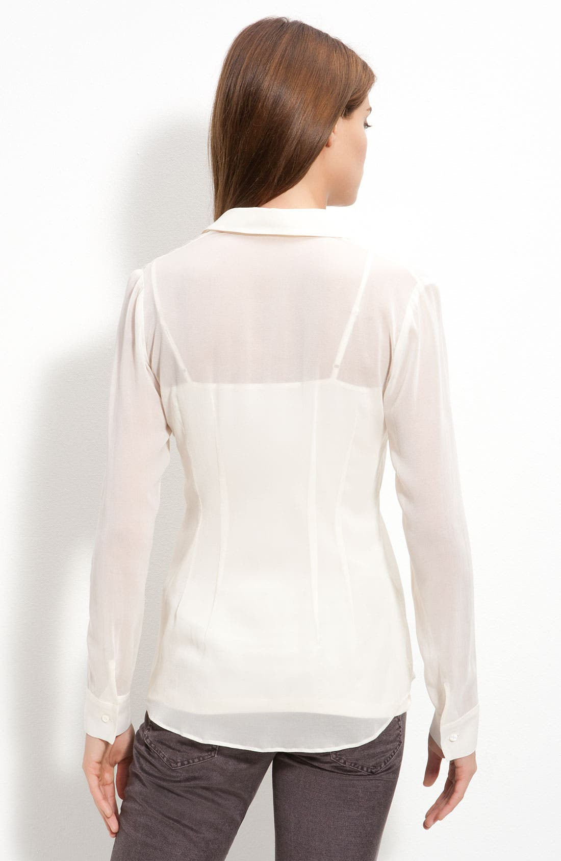 THEORY,                             'Noldema' Fitted Sheer Silk Blouse,                             Alternate thumbnail 2, color,                             900