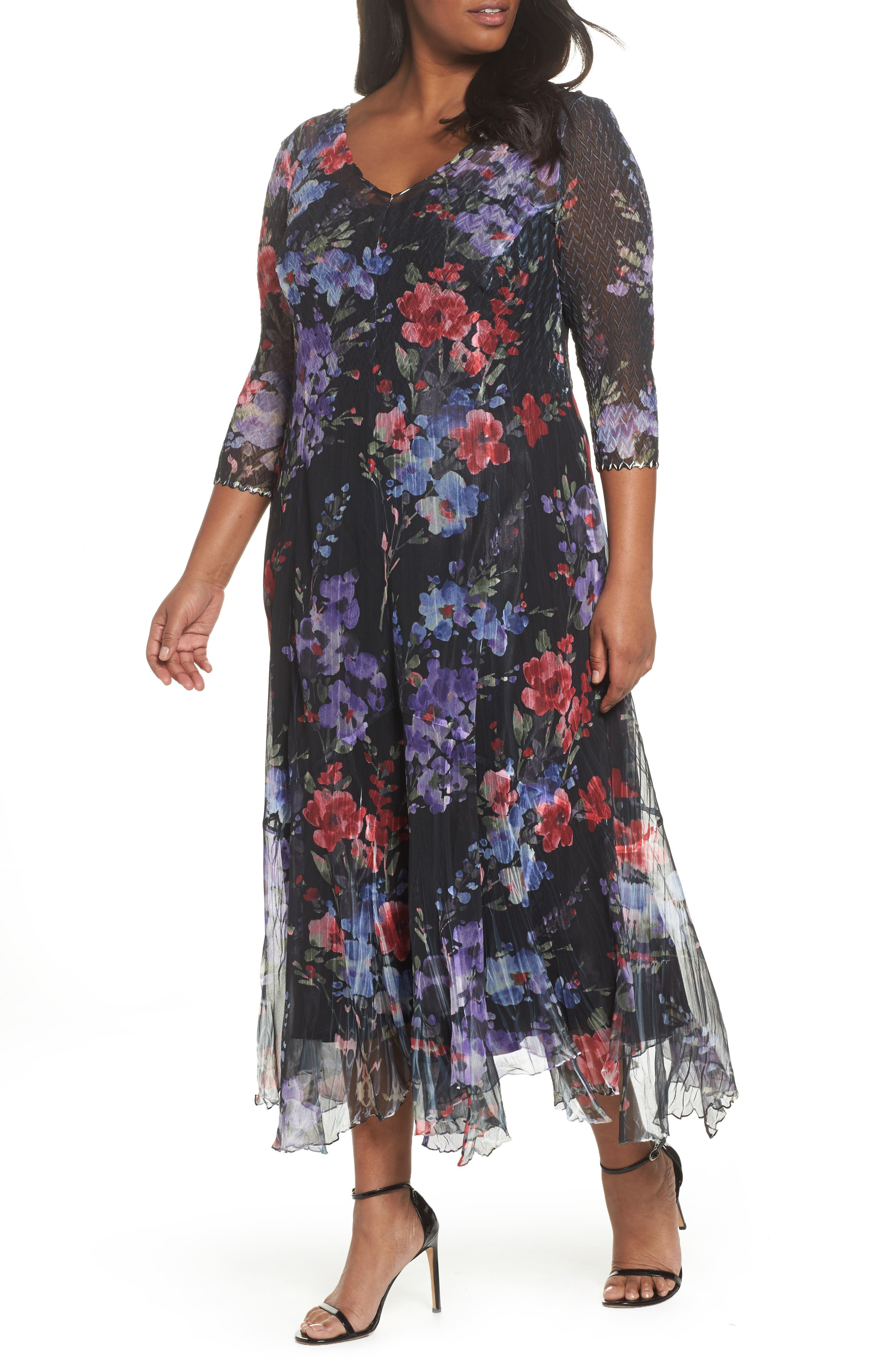 Lace & Charmeuse Floral Print Maxi Dress,                         Main,                         color, 400