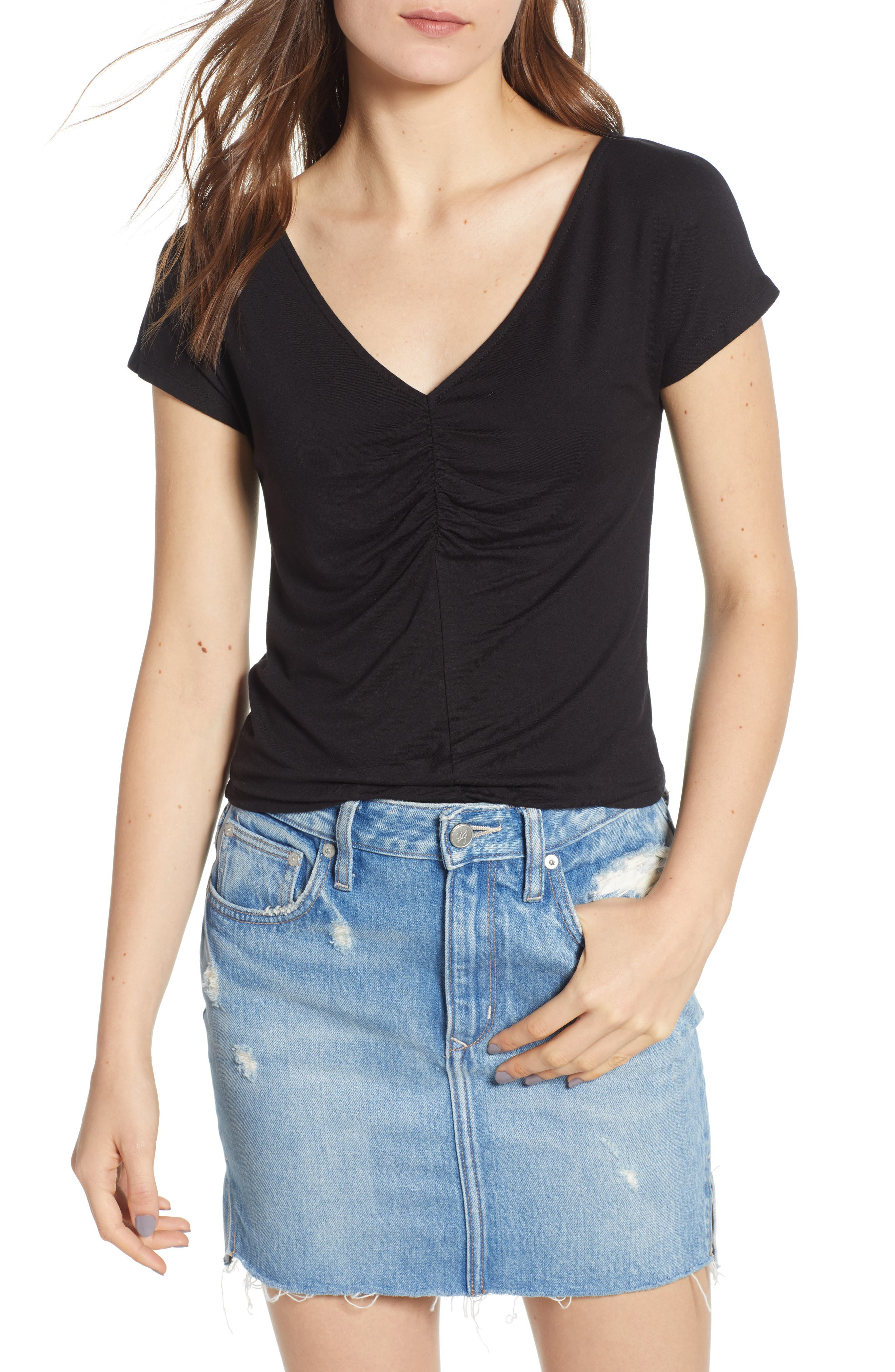 Cinch Front Tee,                         Main,                         color, 001