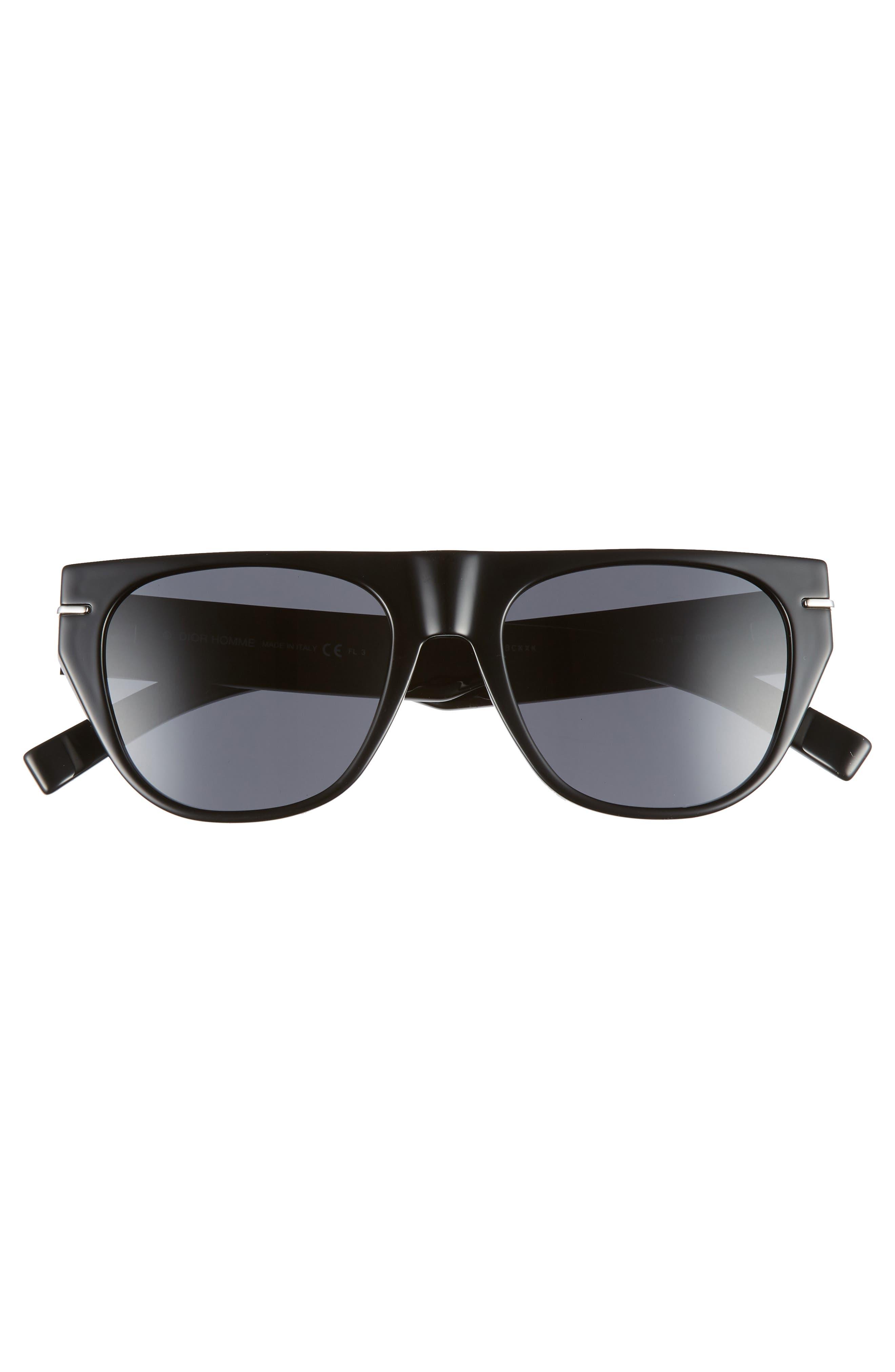 53mm Flat-Top Sunglasses,                             Alternate thumbnail 2, color,                             BLACK