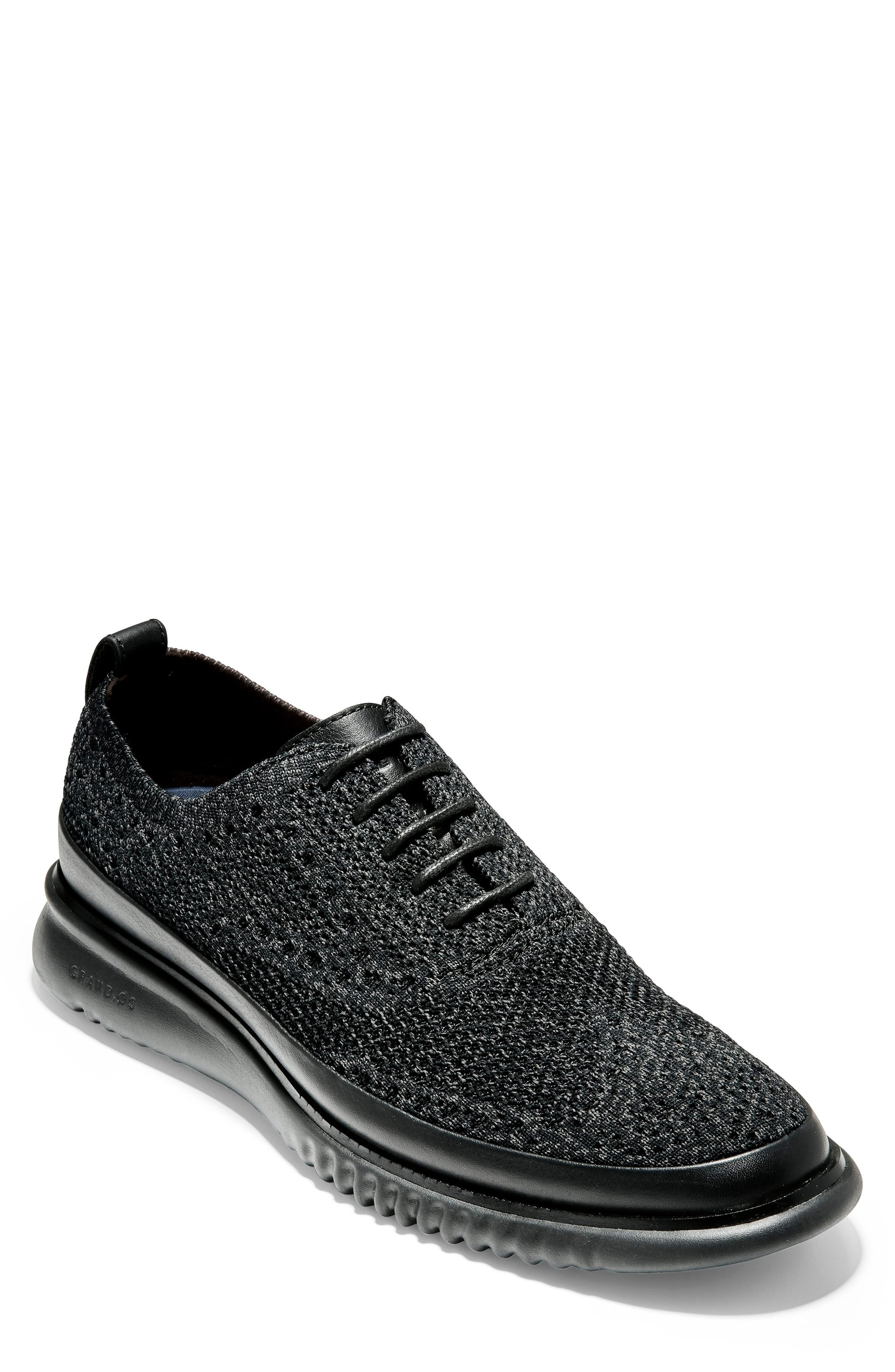 2.ZeroGrand Stitchlite Water Resistant Wingtip,                         Main,                         color, BLACK KNIT