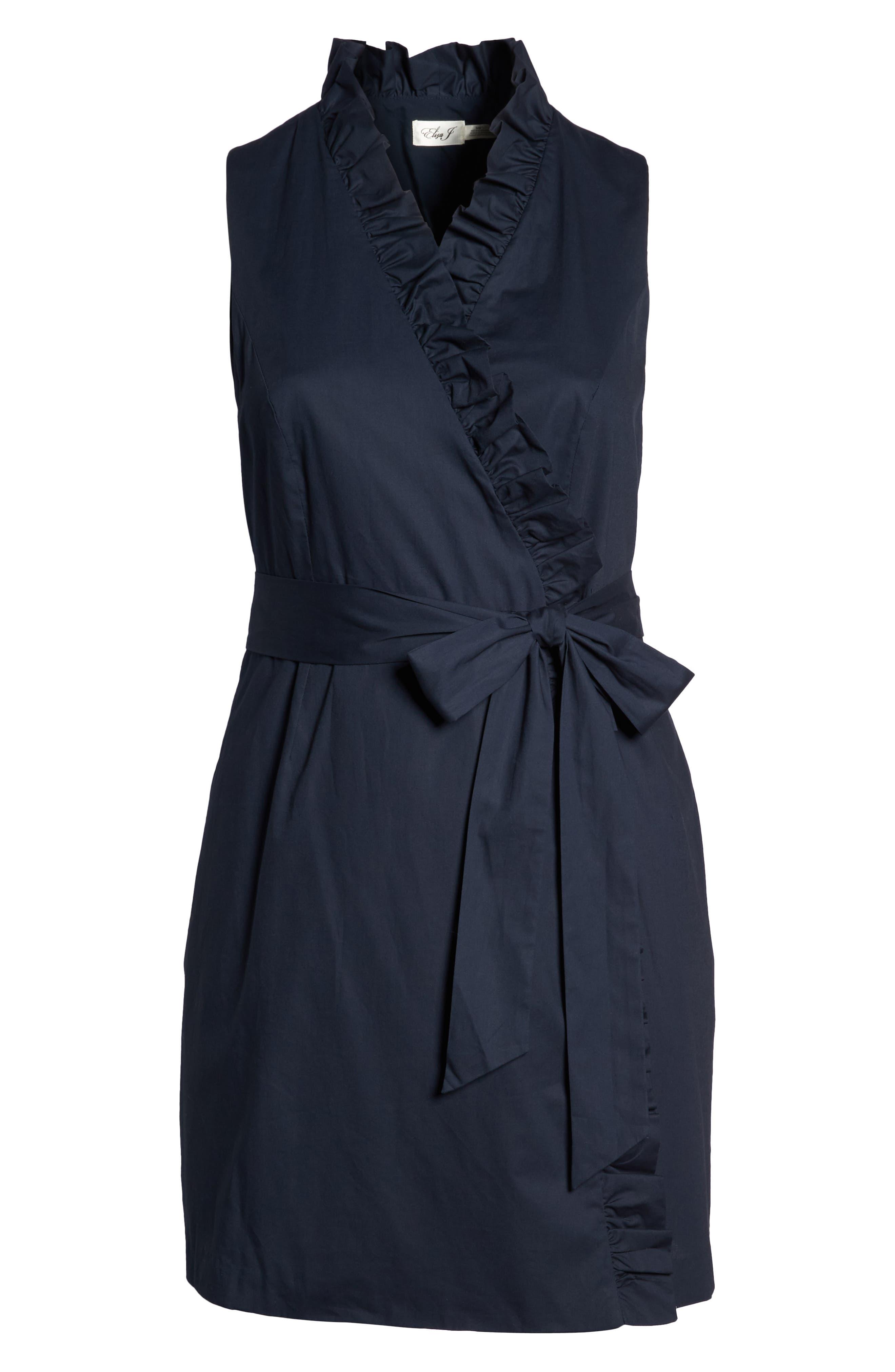 Ruffle Trim Poplin Wrap Dress,                             Alternate thumbnail 7, color,                             NAVY