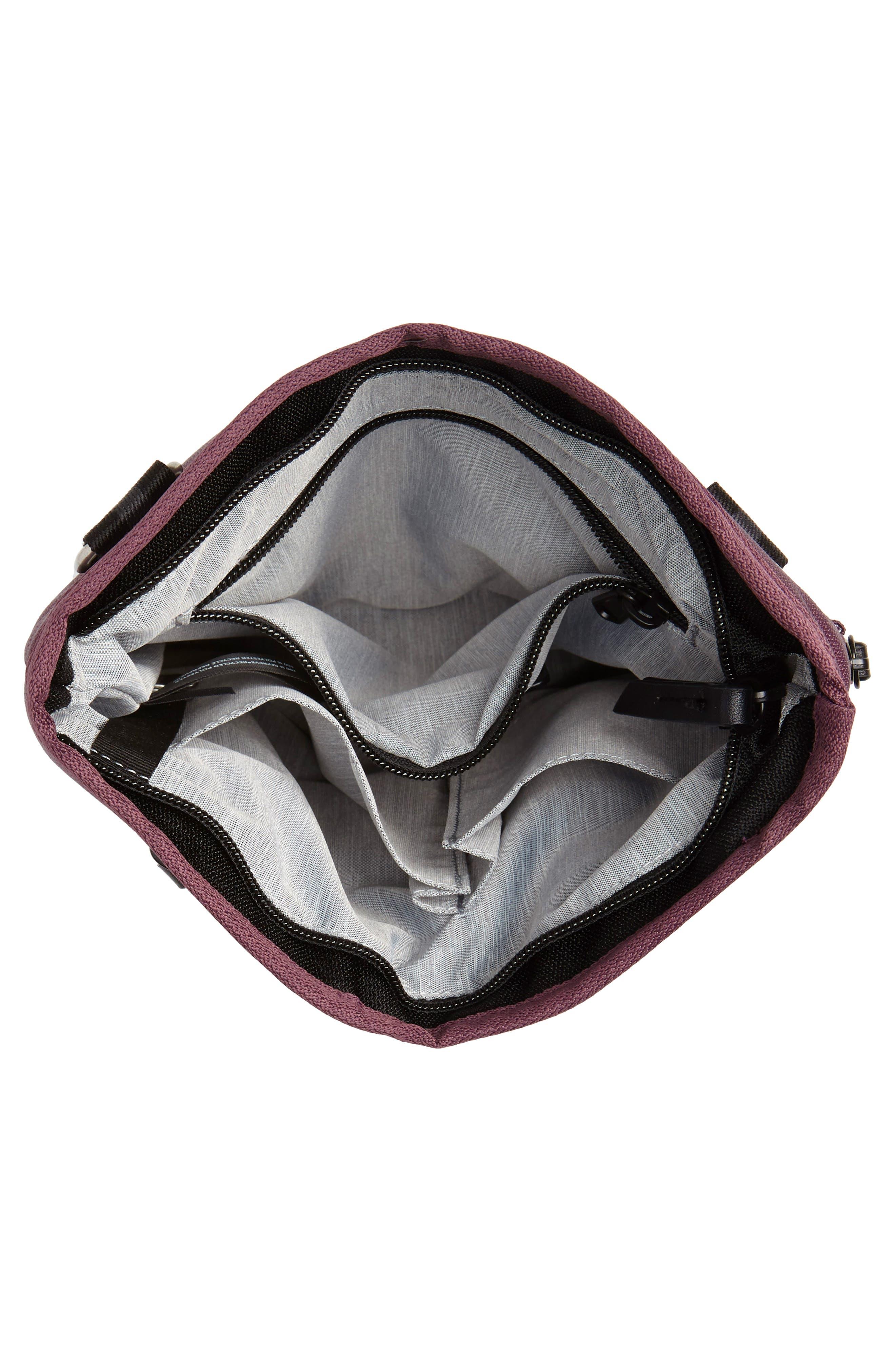 Sadie Medium RFID Crossbody Bag,                             Alternate thumbnail 4, color,                             PURPLE DAHLIA/ BLACK