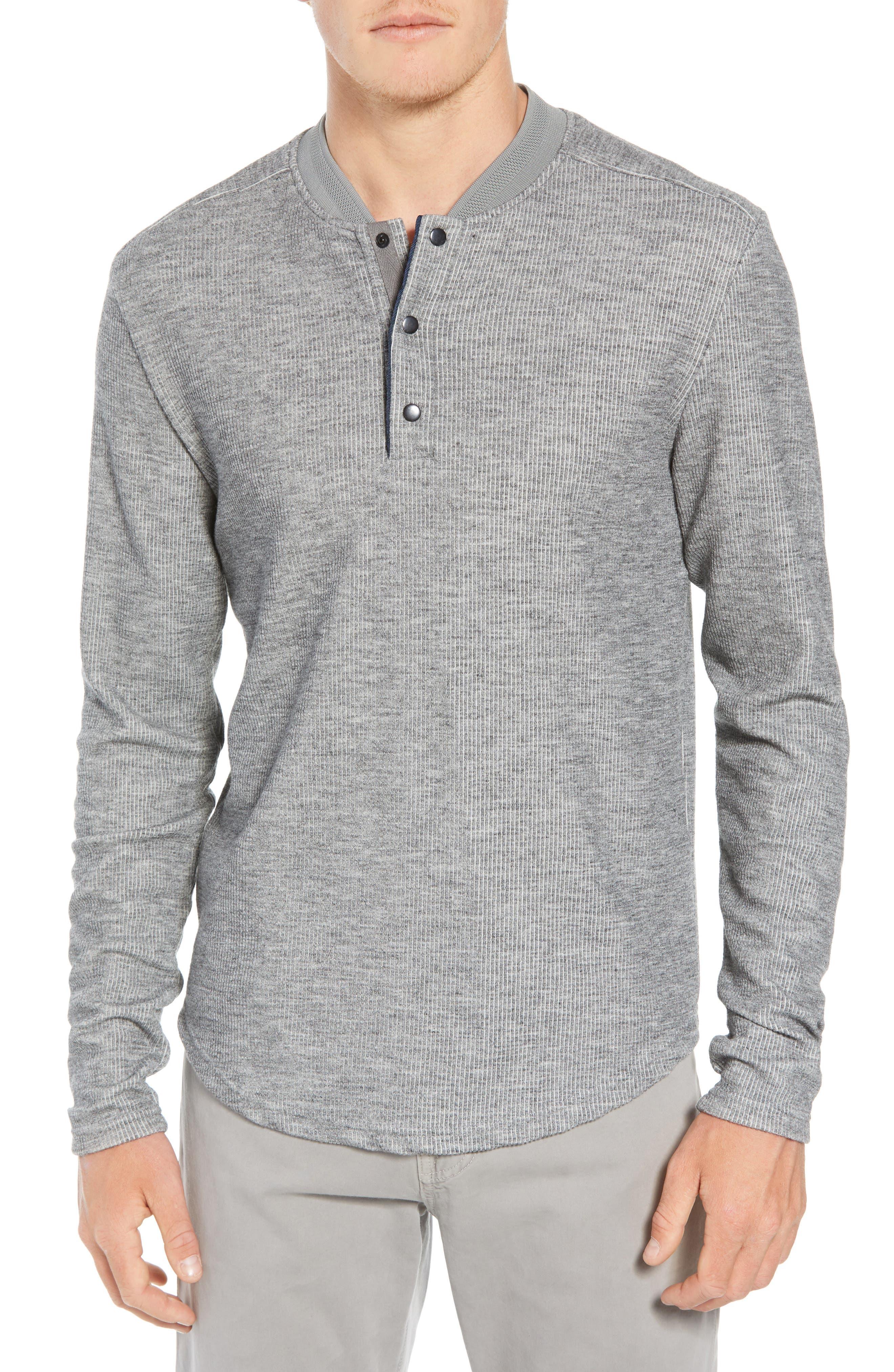 Charlie Rib Knit Henley Shirt,                         Main,                         color, GREY