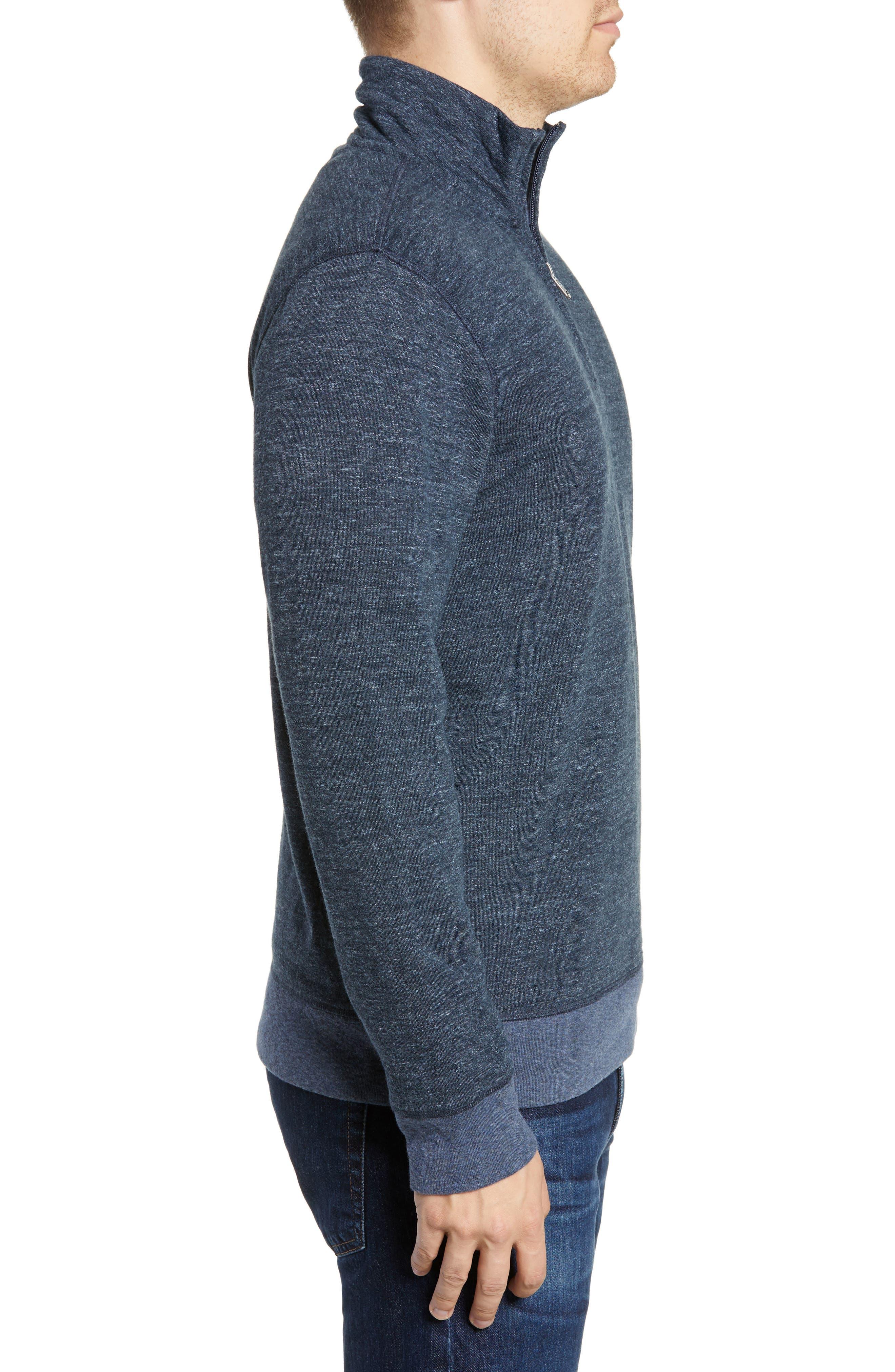 Brand Dual Knit Regular Fit Quarter Zip Pullover,                             Alternate thumbnail 3, color,                             NAVY