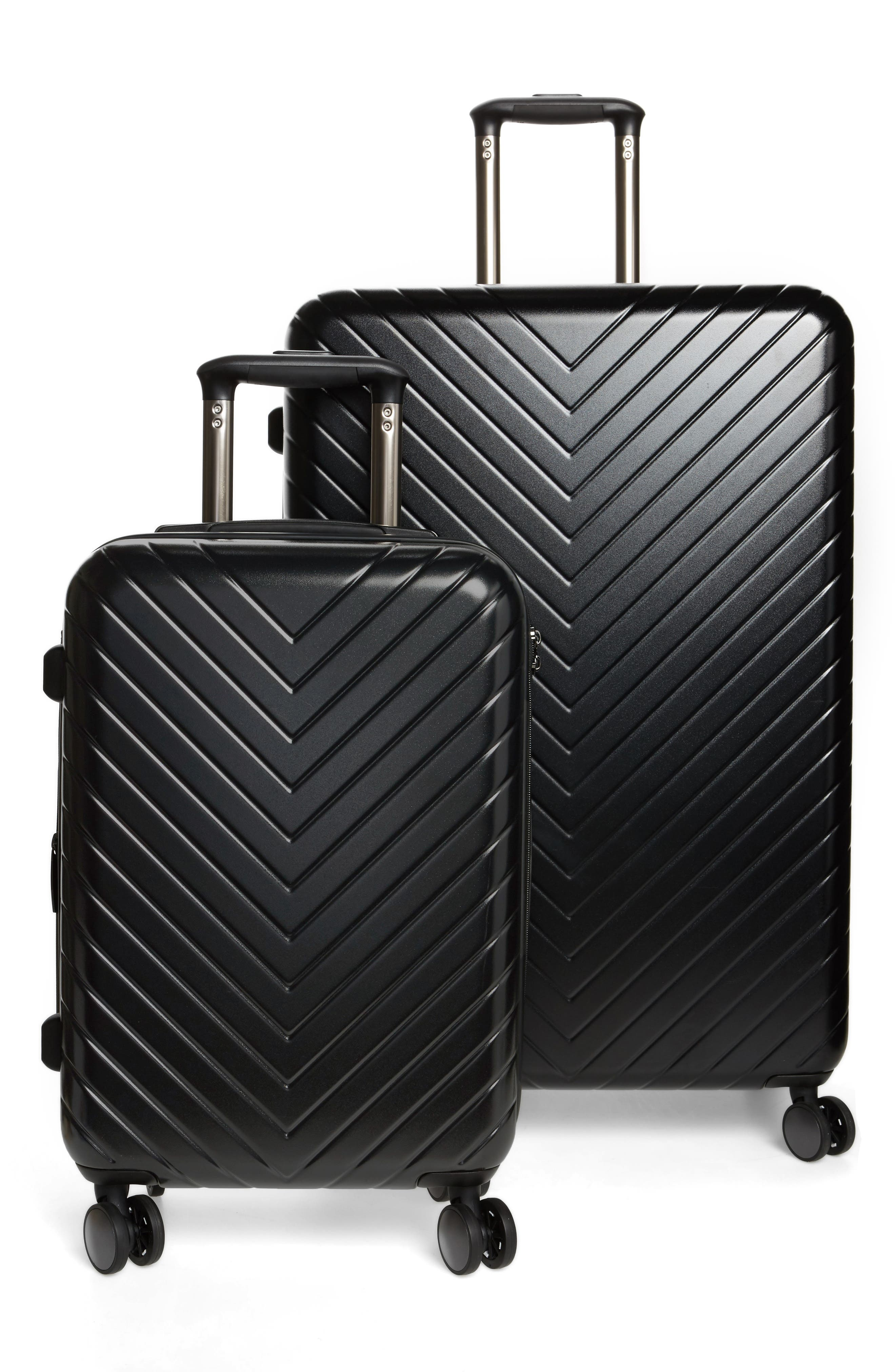 Chevron 29-Inch & 18-Inch Spinner Luggage Set,                             Main thumbnail 1, color,                             BLACK