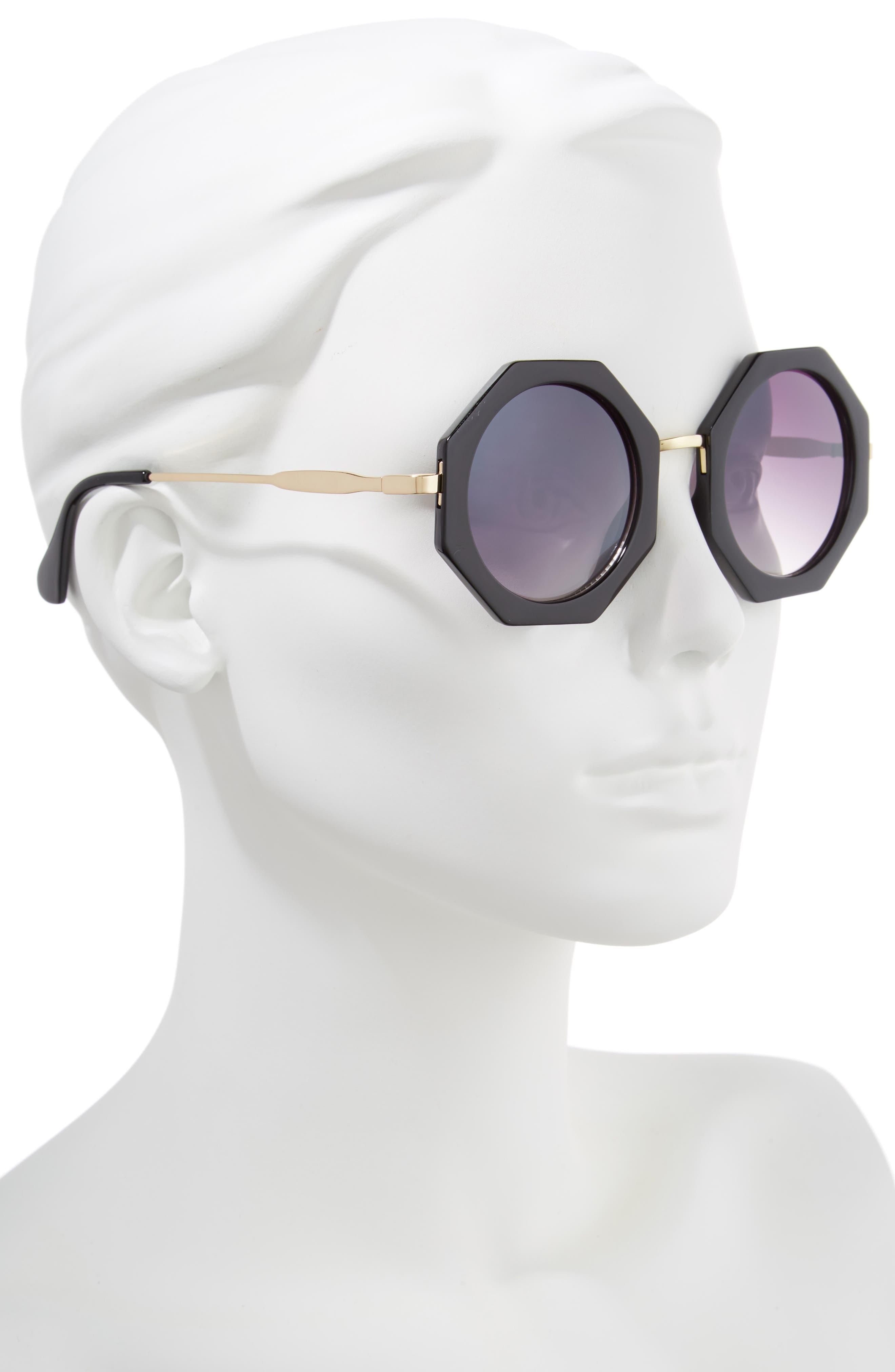 54m Hexagonal Sunglasses,                             Alternate thumbnail 2, color,                             001