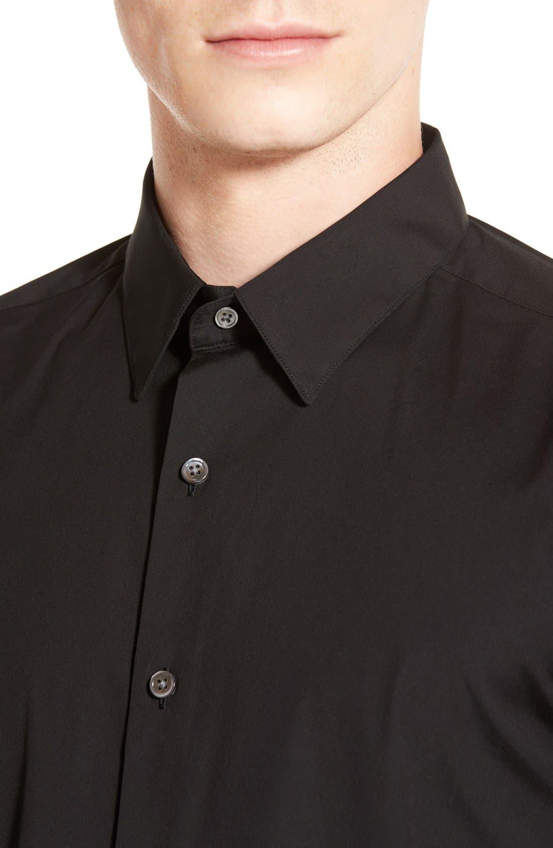 'Sylvain' Trim Fit Long Sleeve Sport Shirt,                             Alternate thumbnail 6, color,                             BLACK