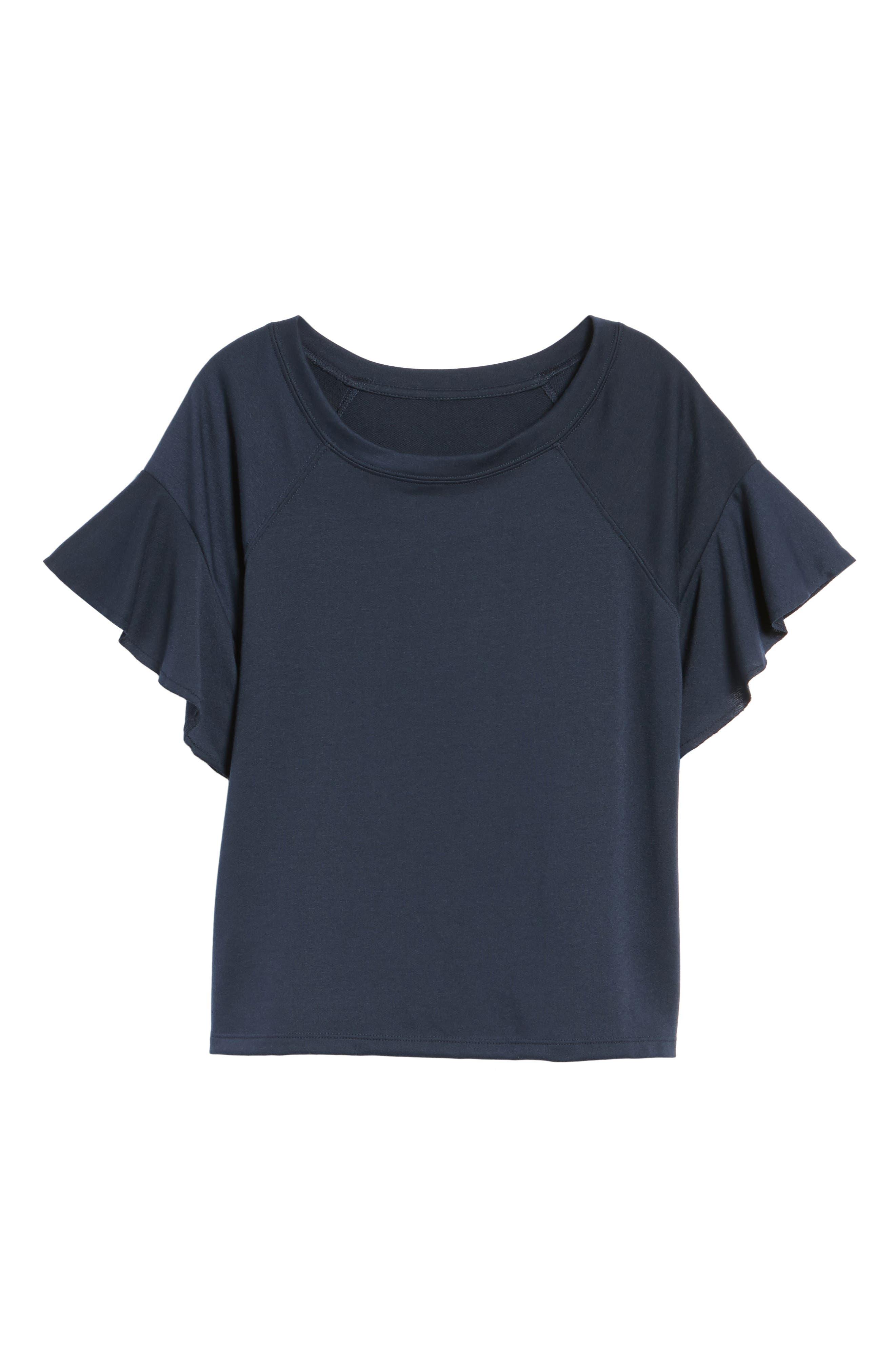 Ruffle Sleeve Sweatshirt,                             Alternate thumbnail 23, color,