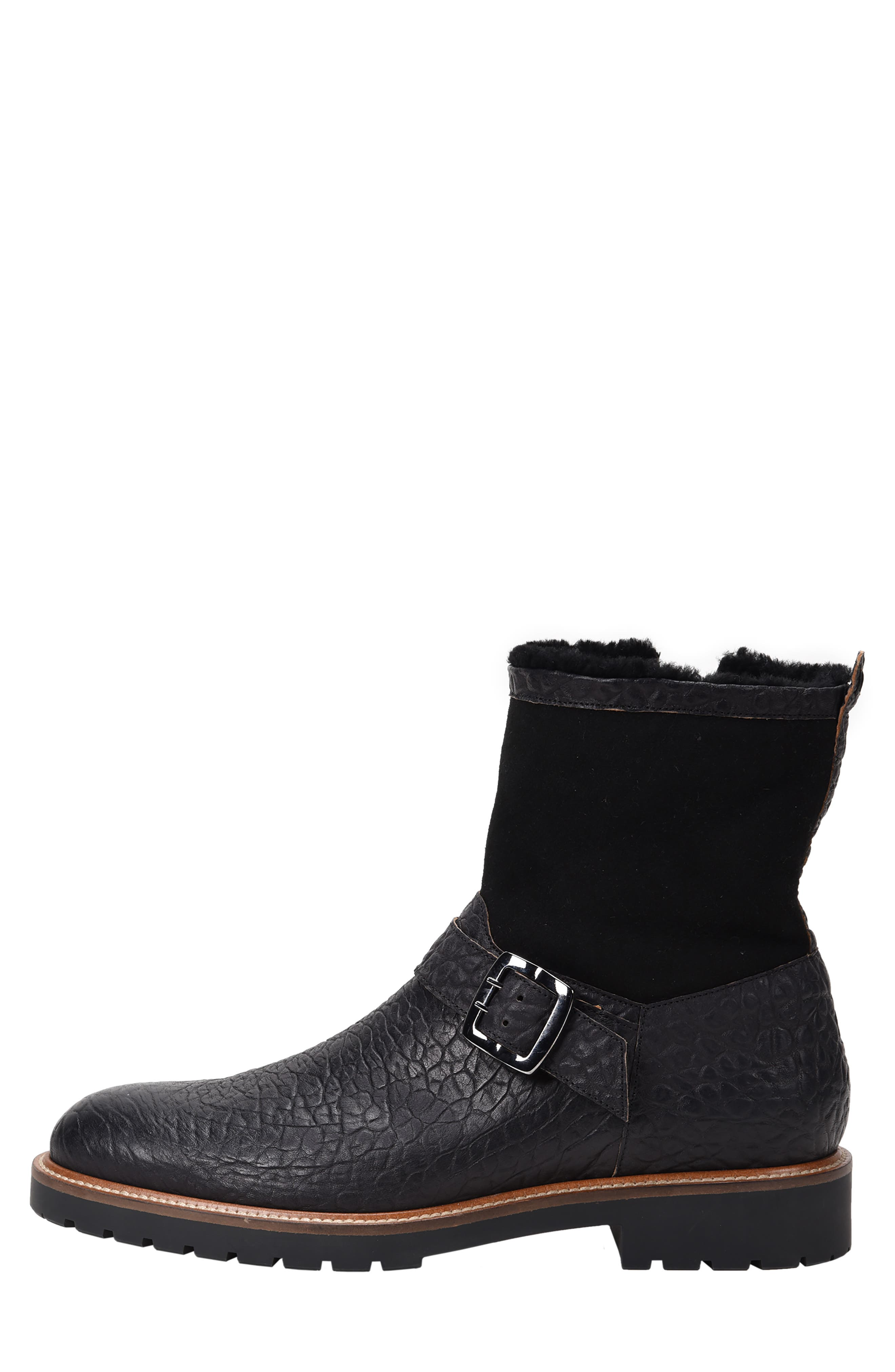 Federico Waterproof Genuine Shearling Lined Moto Boot,                             Alternate thumbnail 8, color,                             RUGGED BLACK