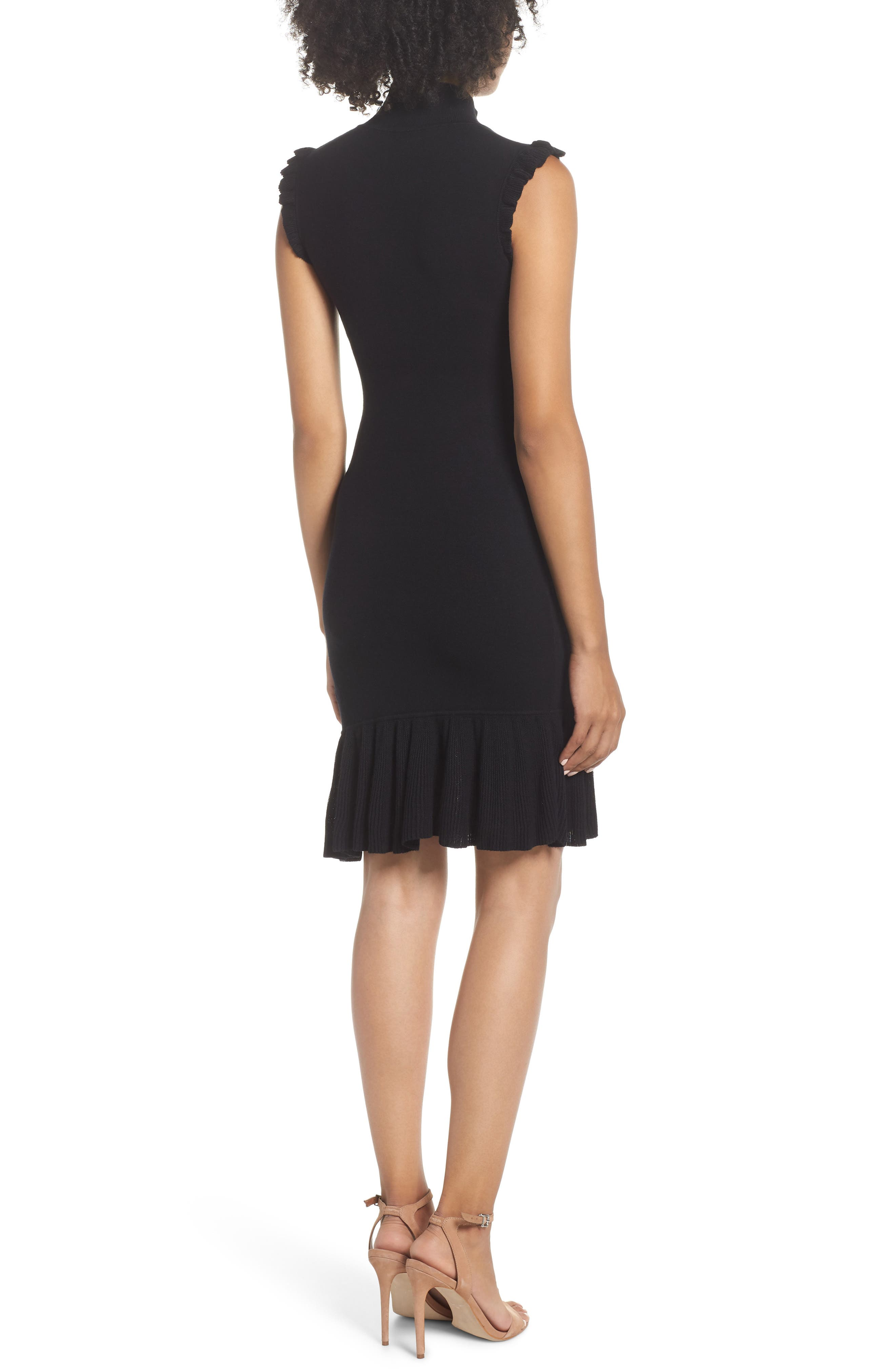 Too Good to Be True Ruffle Trim Sweater Dress,                             Alternate thumbnail 2, color,                             001