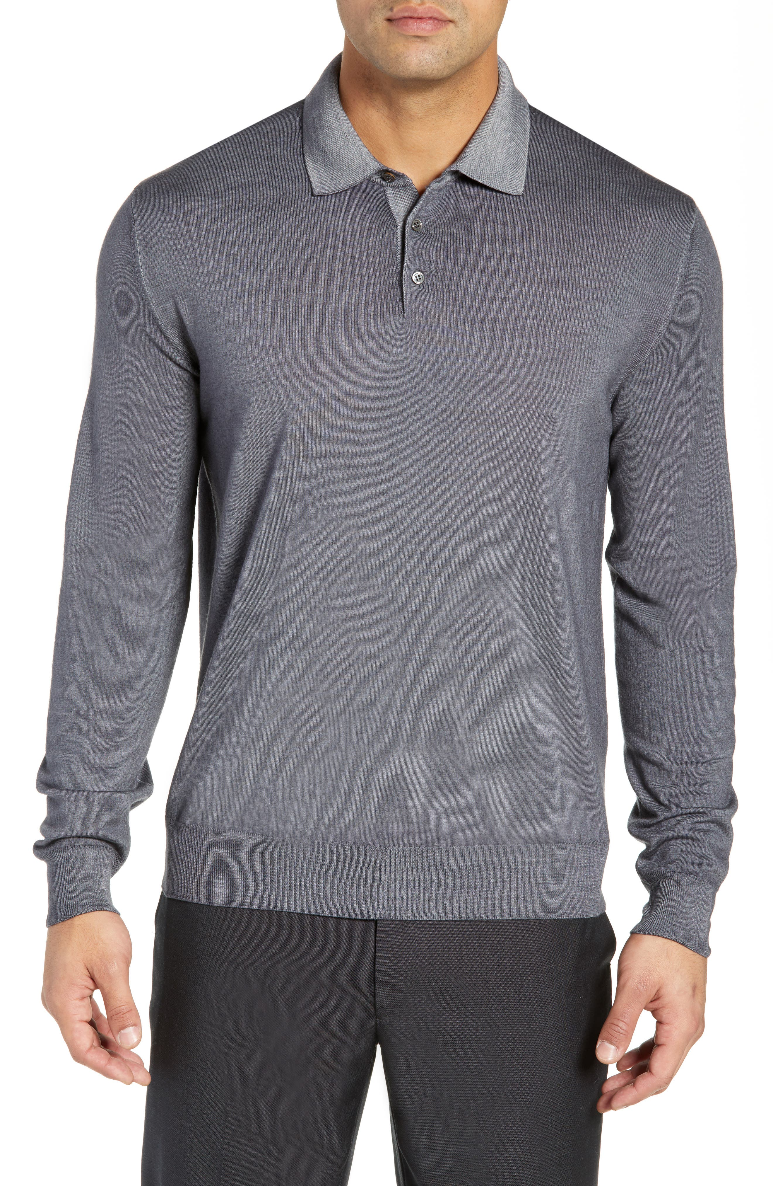 Dustin Wool Polo Sweater,                         Main,                         color, GREY