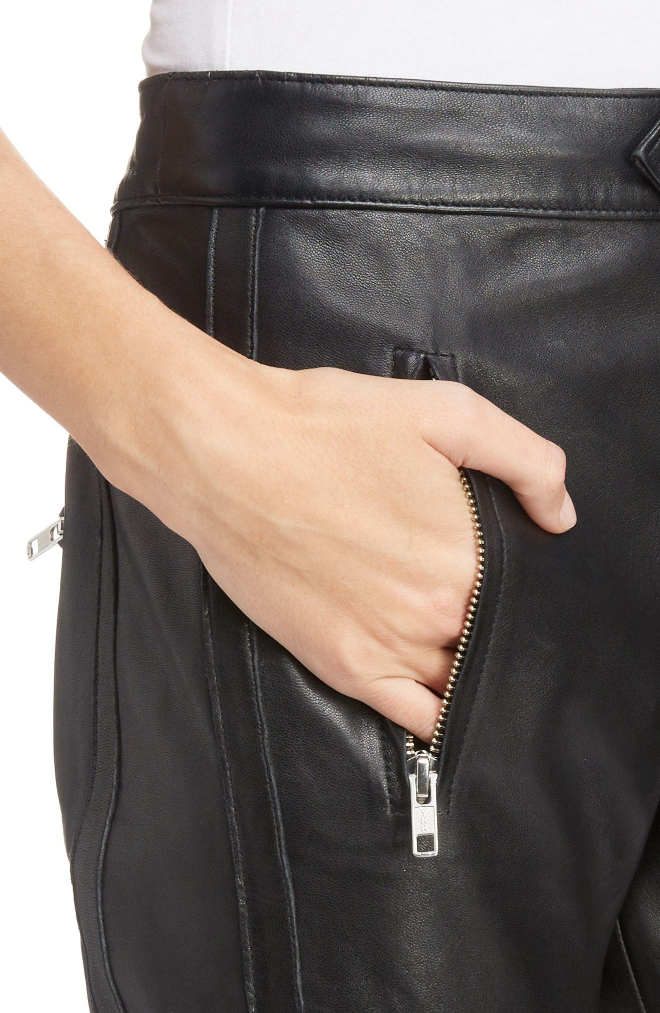 Isabel Marant Étoile Aya Leather Pants,                             Alternate thumbnail 4, color,                             BLACK