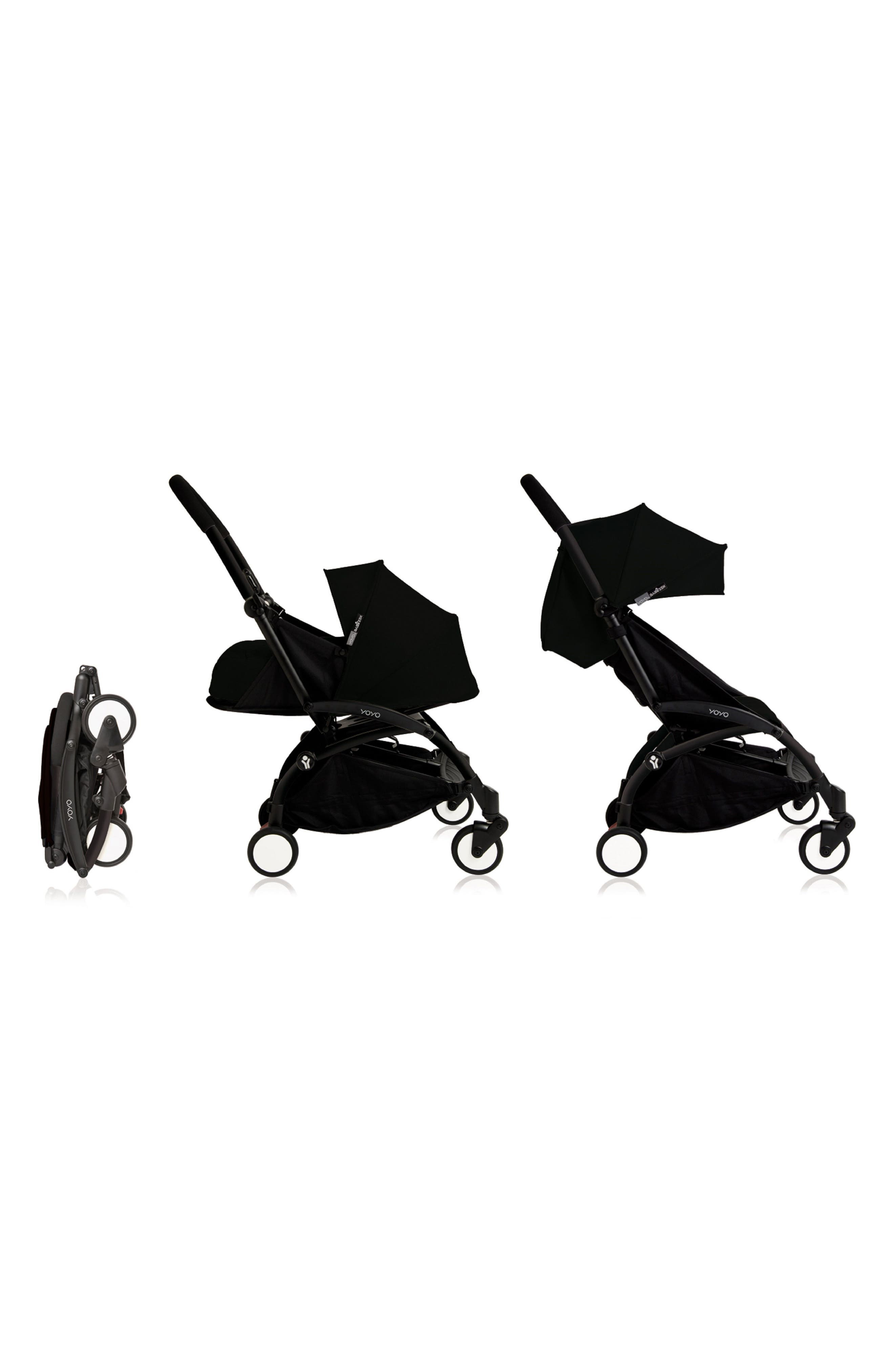 BABYZEN YOYO+ Complete Stroller with Newborn Color Pack Fabric Set,                             Alternate thumbnail 2, color,                             BLACK