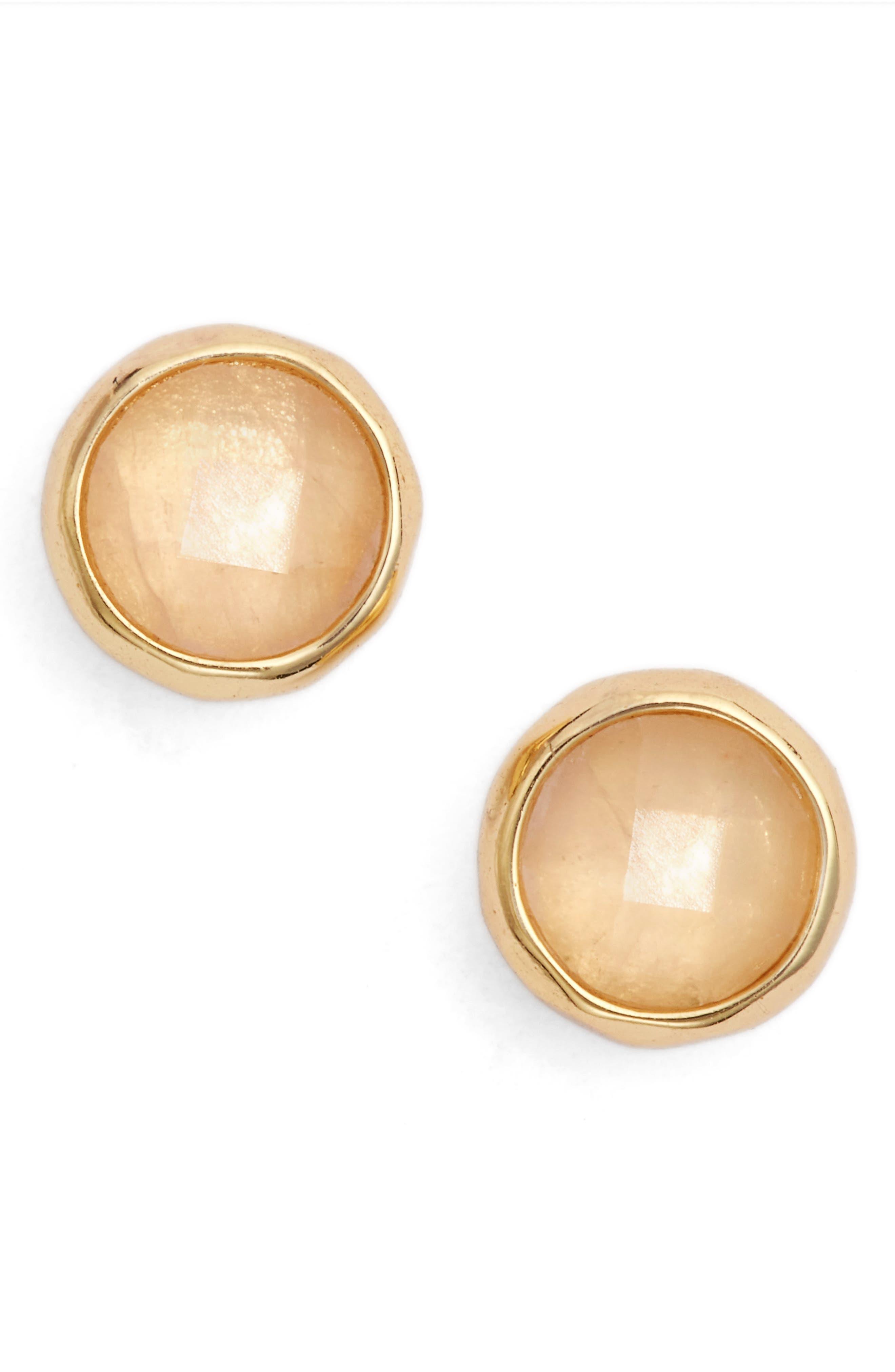 Love Stud Earrings,                             Main thumbnail 1, color,                             ROSE QUARTZ/ GOLD