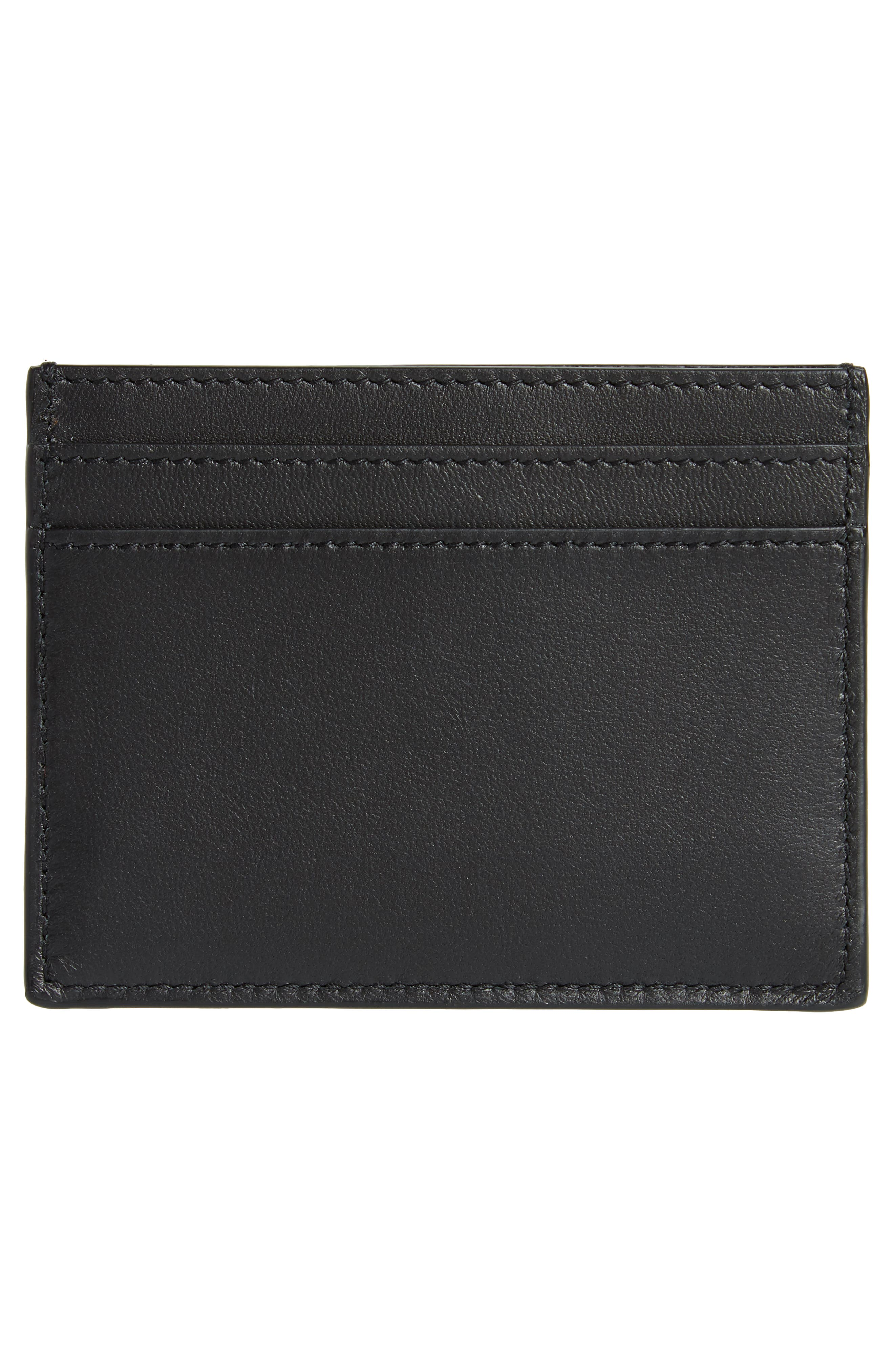Embroidered Patch Leather Card Case,                             Alternate thumbnail 2, color,                             001