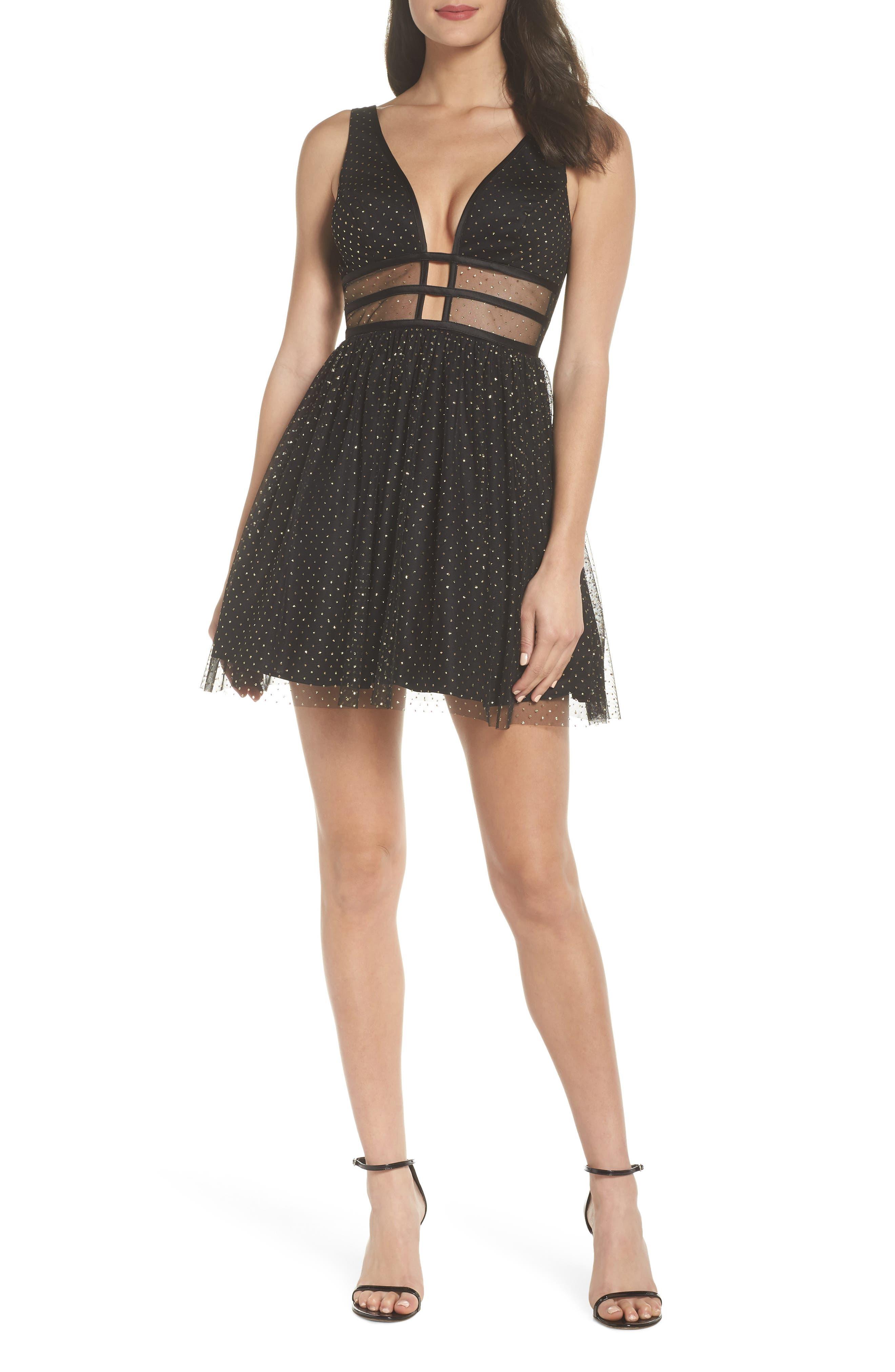 Glitter Dot Fit & Flare Party Dress,                             Main thumbnail 1, color,                             BLACK/ GOLD