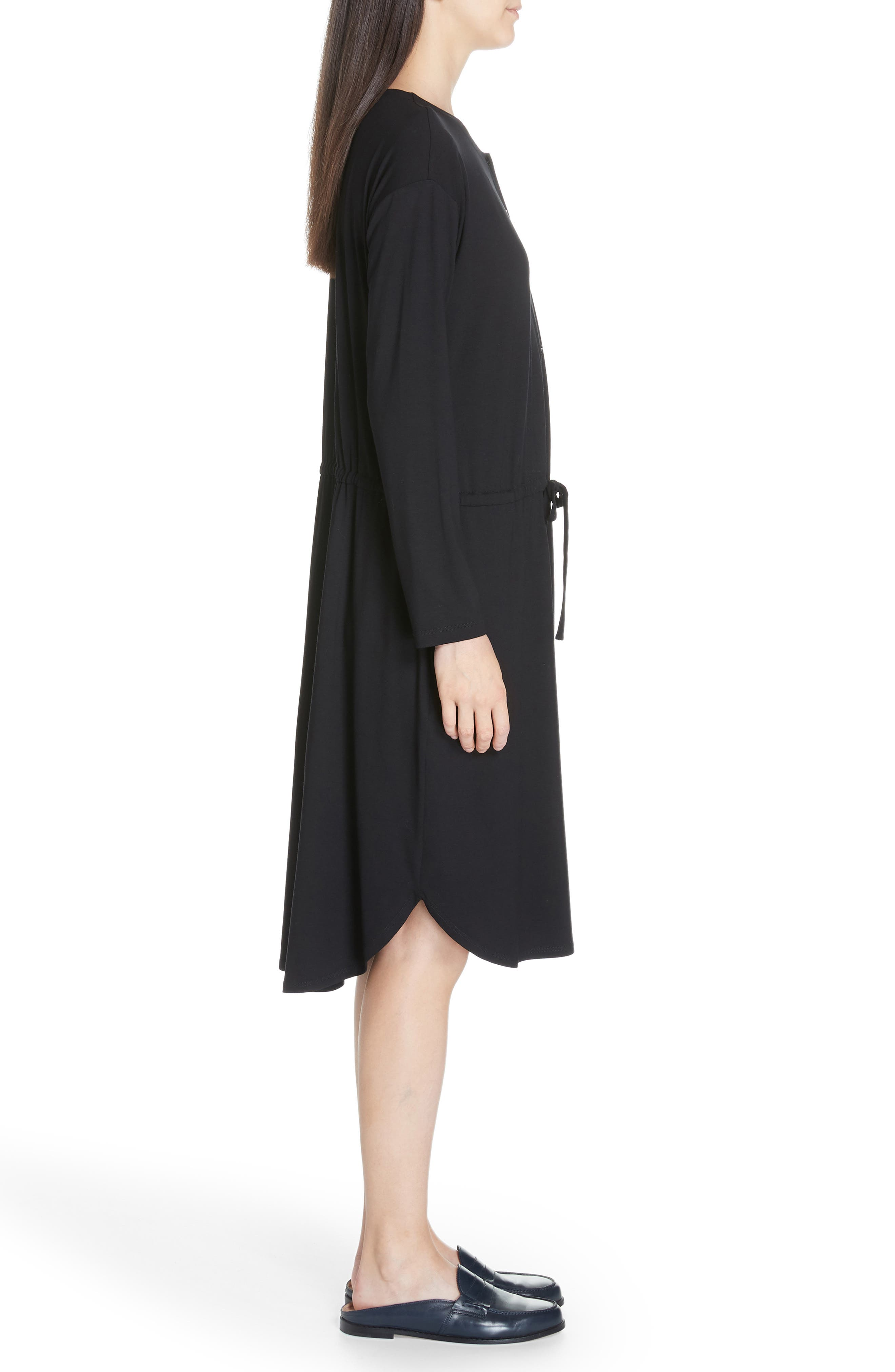 Drawstring Waist Dress,                             Alternate thumbnail 4, color,                             BLACK