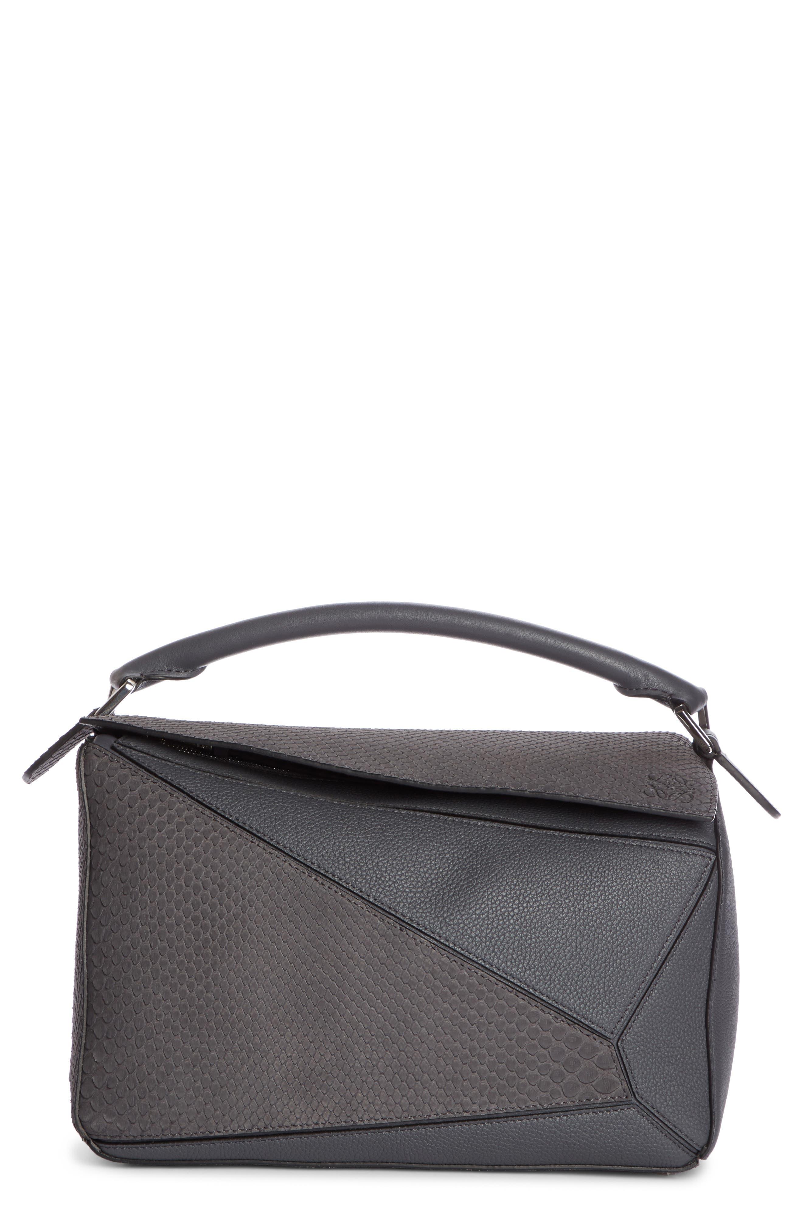 Medium Puzzle Leather Shoulder Bag,                         Main,                         color, ANTHRACITE