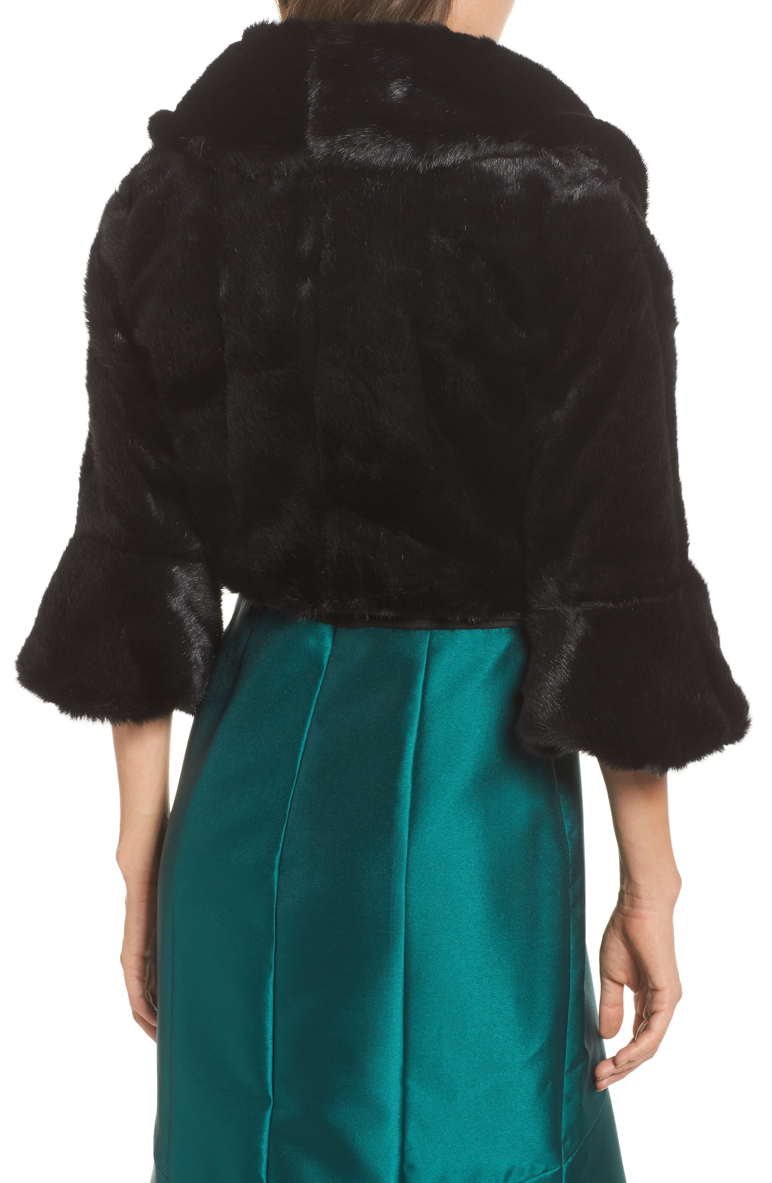 Faux Fur Jacket,                             Alternate thumbnail 2, color,                             001