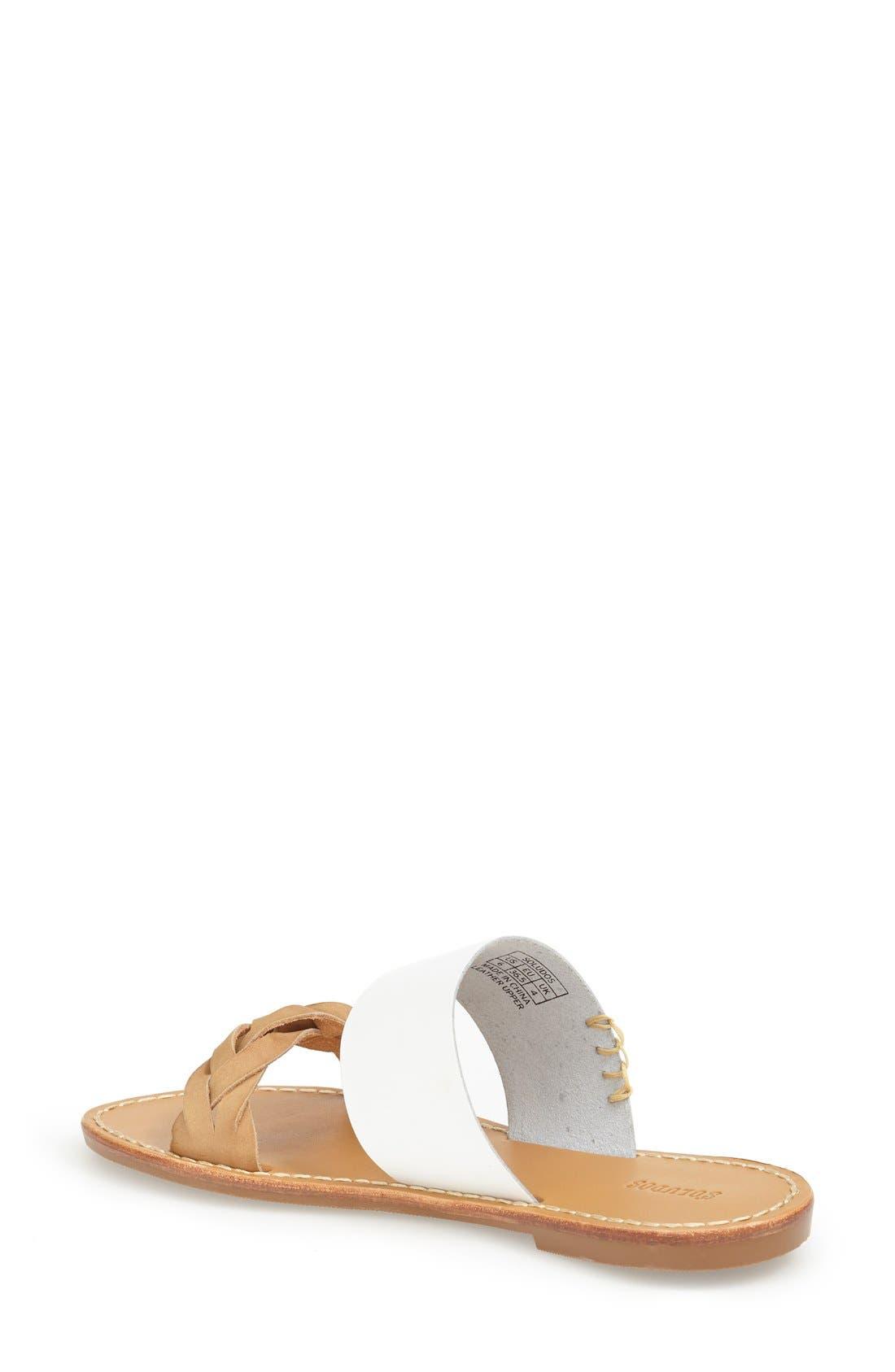 Slide Sandal,                             Alternate thumbnail 2, color,                             WHITE LEATHER