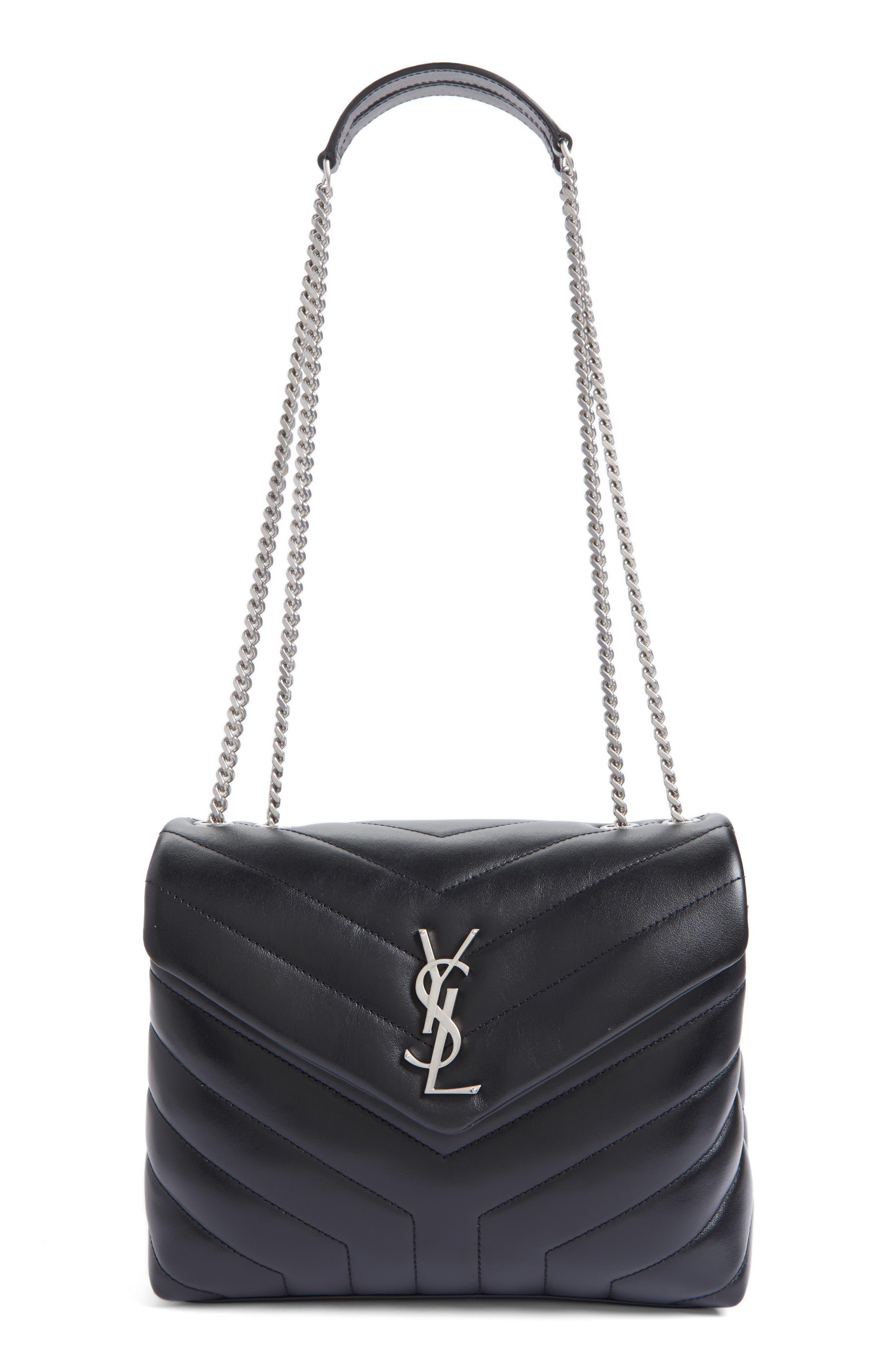 Loulou Monogram Ysl Small V-Flap Chain Shoulder Bag - Miroir Hardware, Black