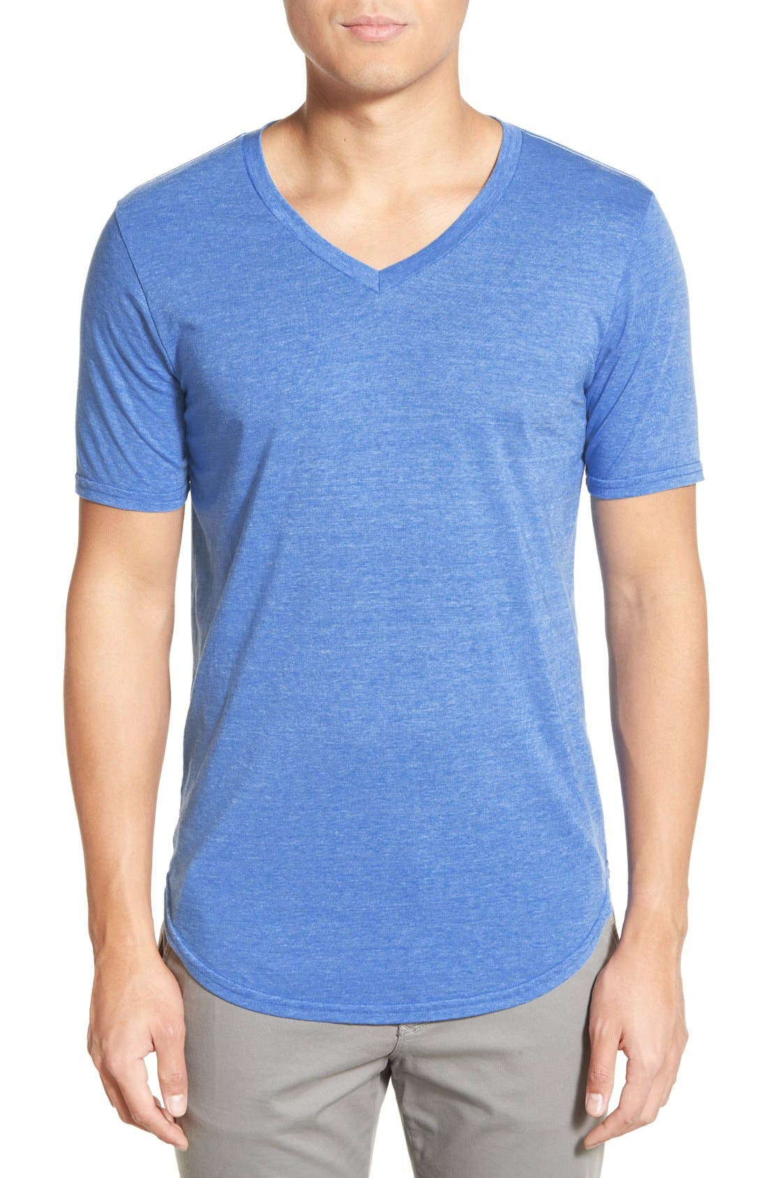 Scallop Triblend V-Neck T-Shirt,                             Main thumbnail 8, color,