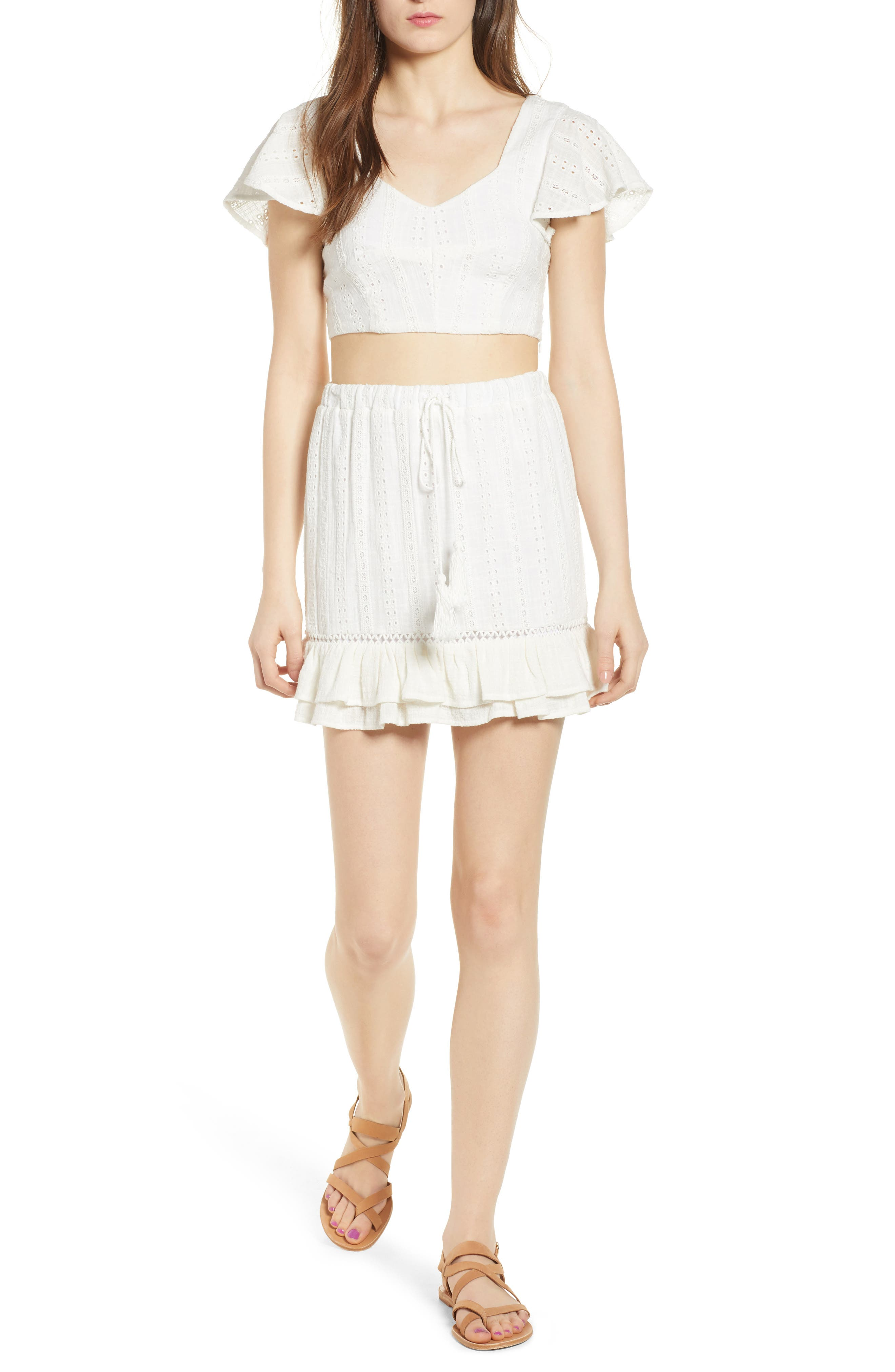 Daisy Ruffle Miniskirt,                             Alternate thumbnail 7, color,