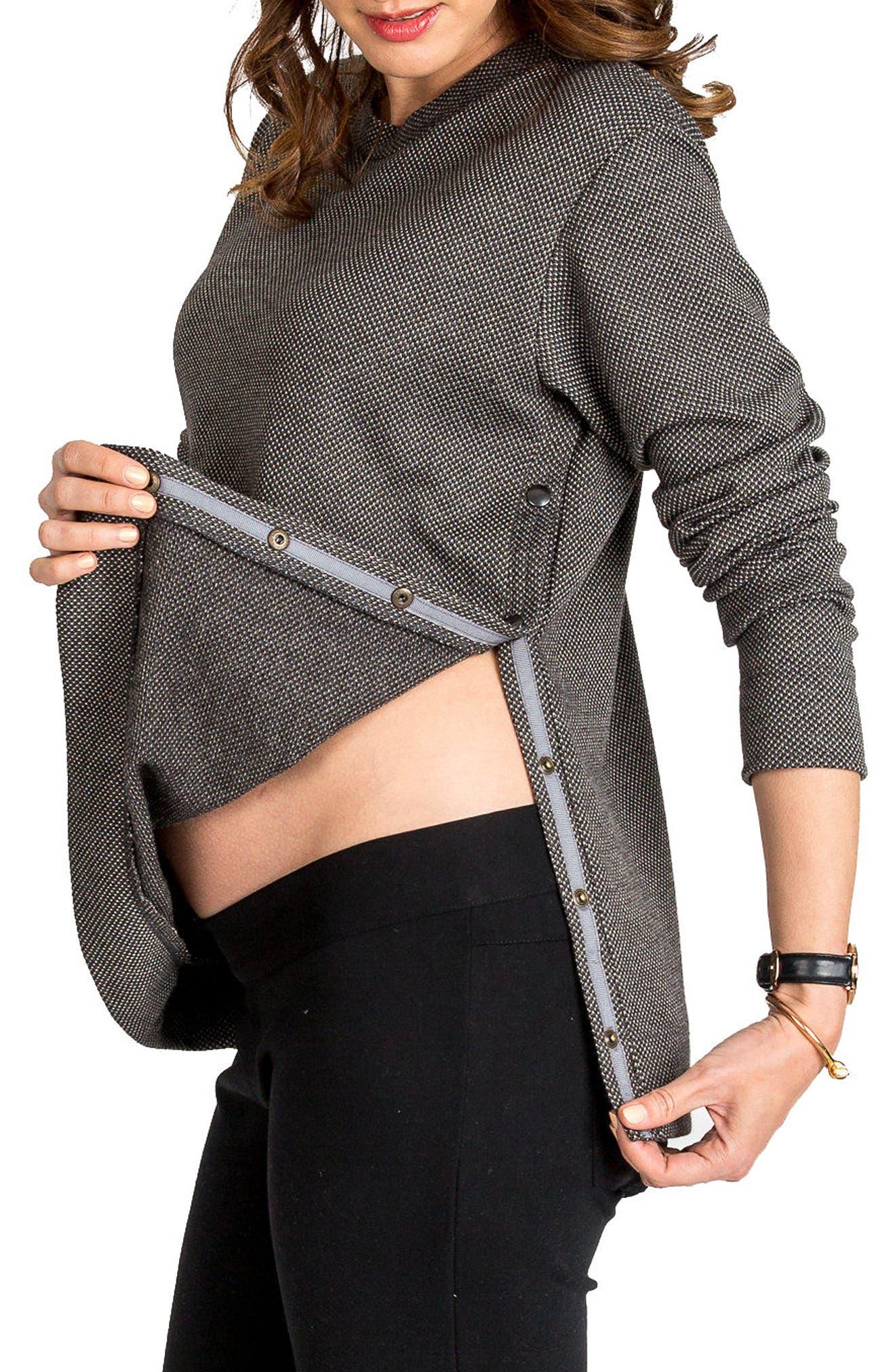 NOM MATERNITY,                             Olivia Snap Side Maternity Sweater,                             Alternate thumbnail 3, color,                             020