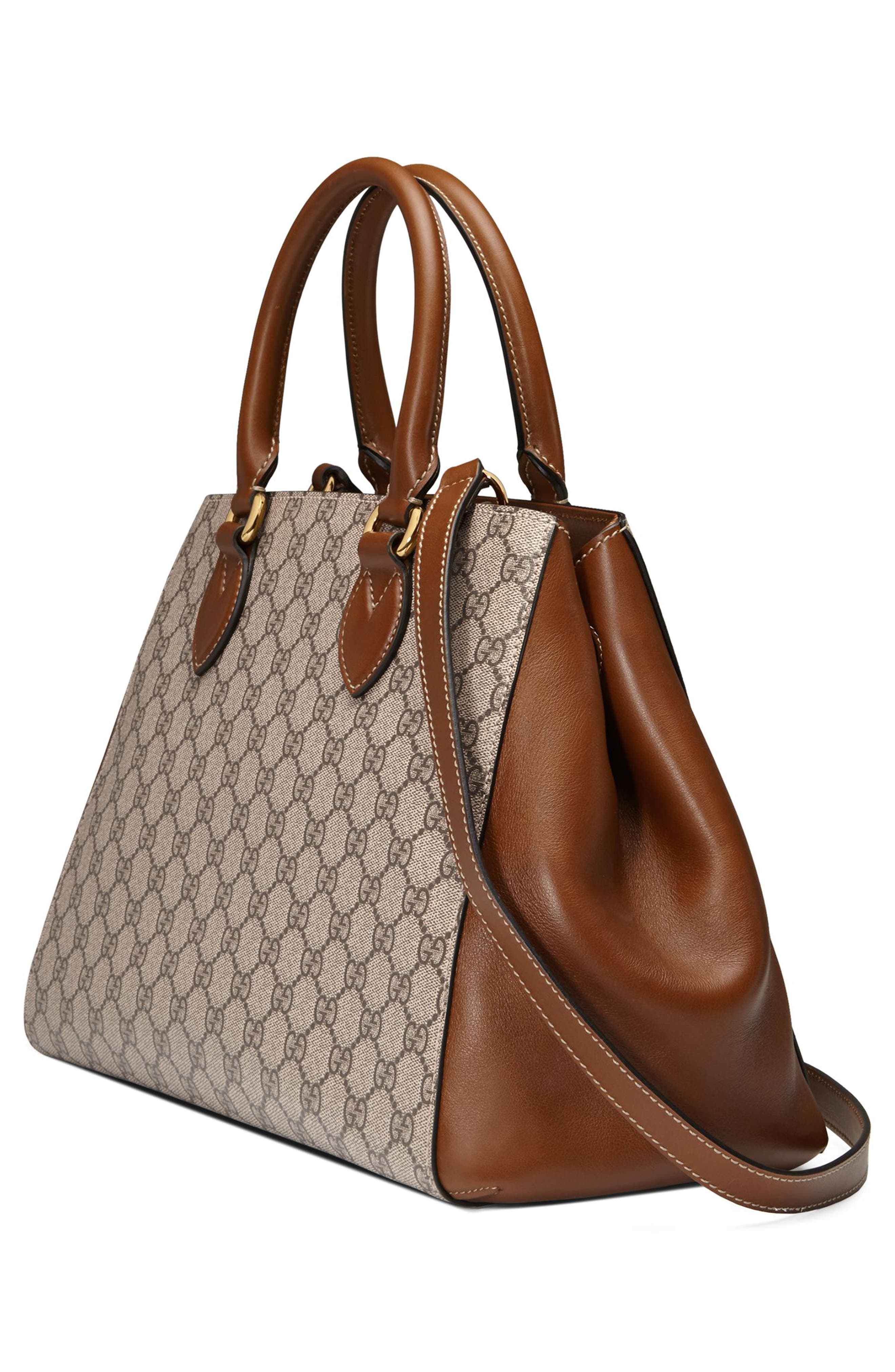 Large Top Handle GG Supreme Canvas & Leather Bag,                             Alternate thumbnail 4, color,                             283