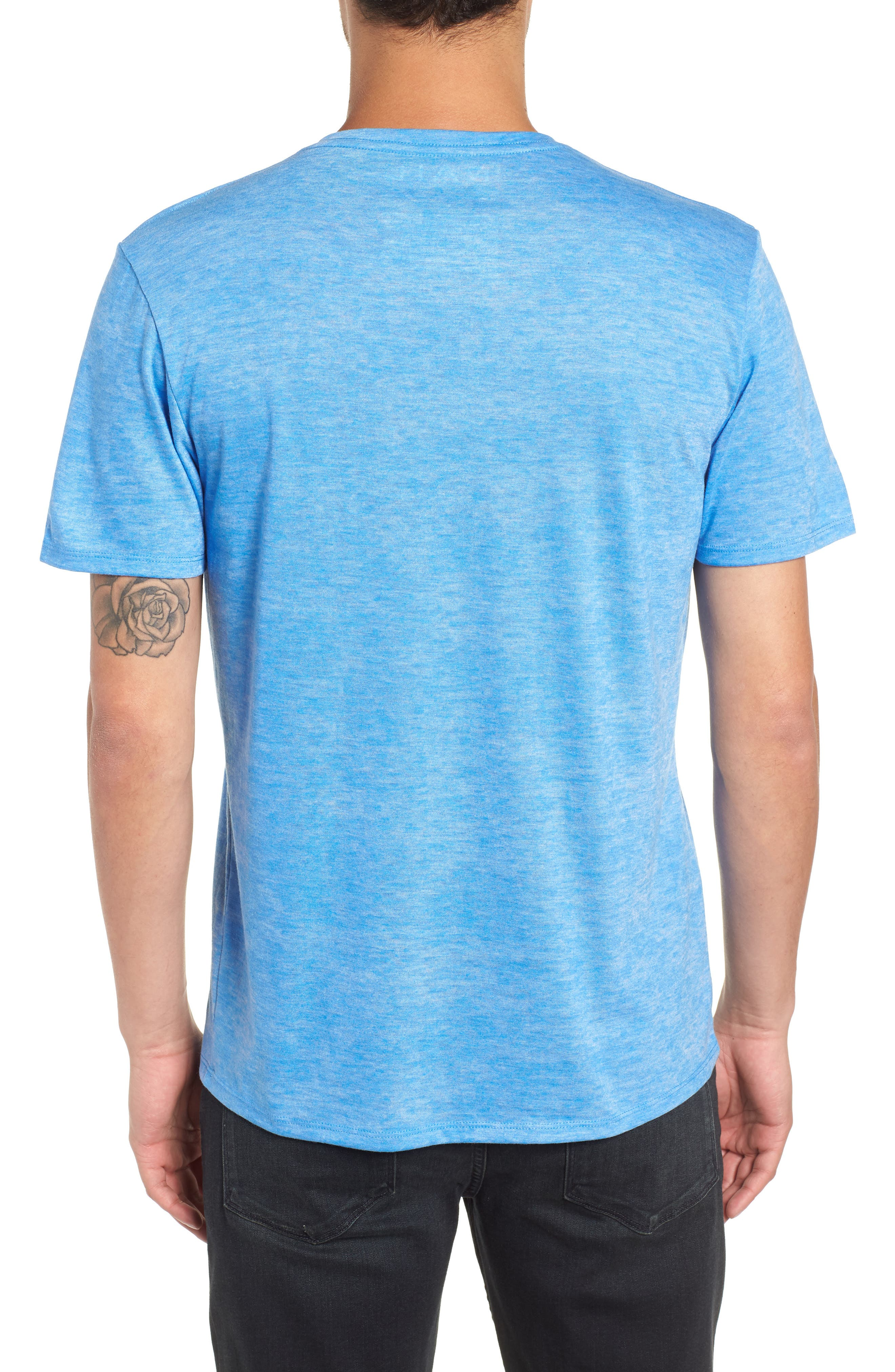 Burnout V-Neck T-Shirt,                             Alternate thumbnail 2, color,                             BLUE BLISS- WHITE BURNOUT