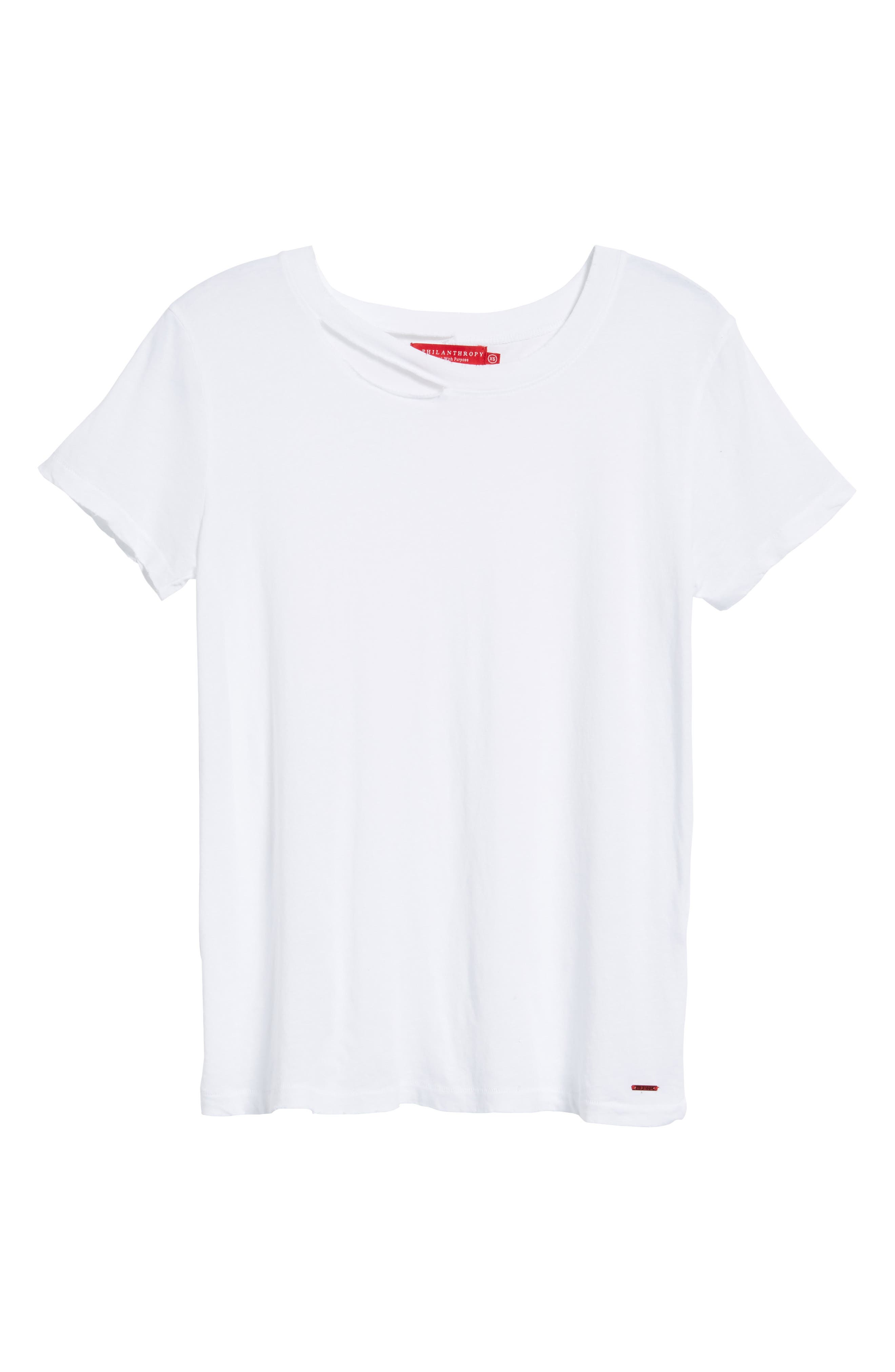 Harlow Distressed BFF Tee,                             Alternate thumbnail 6, color,                             100