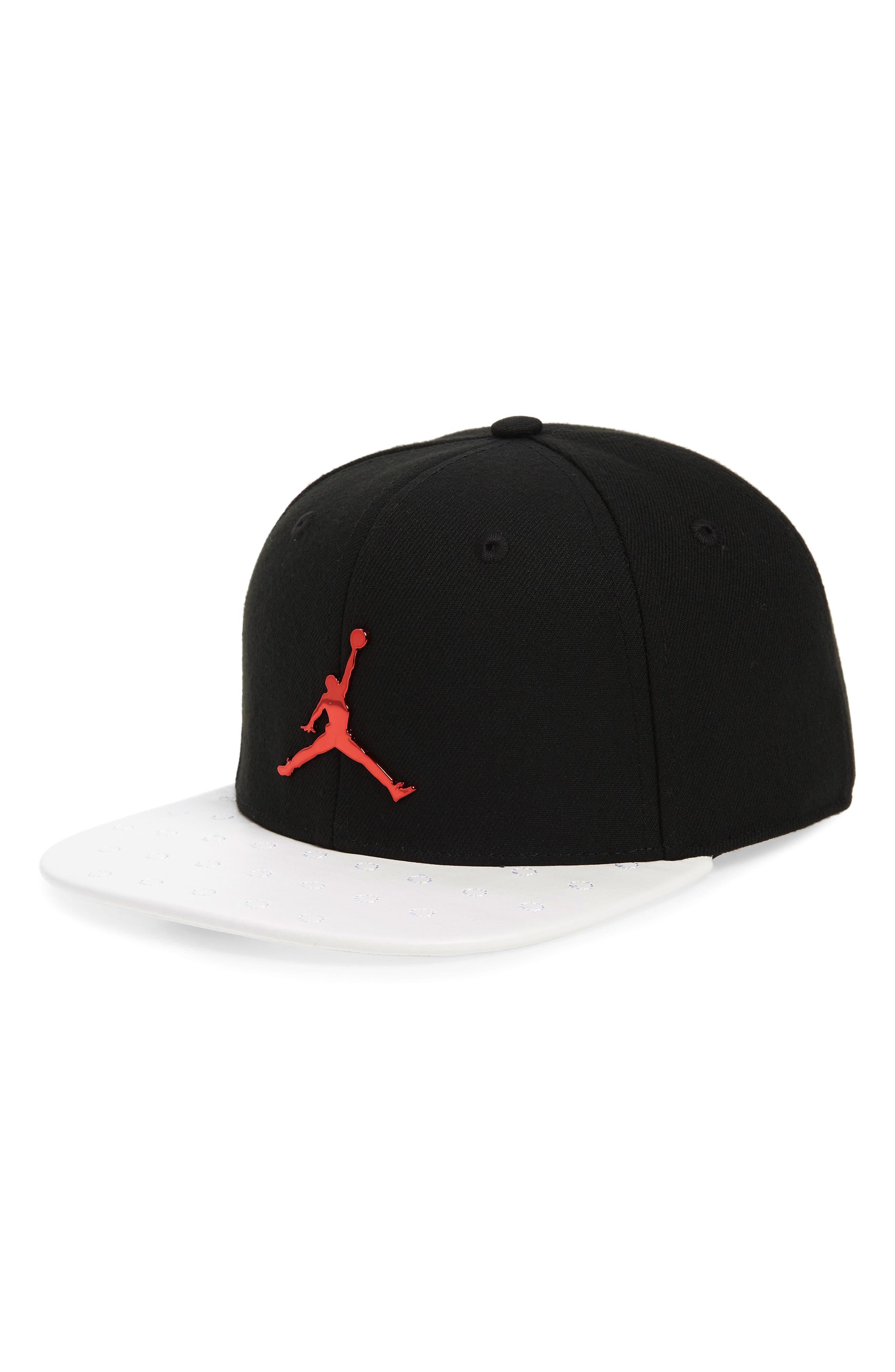 Jordan Retro 13 Snapback Baseball Cap,                             Main thumbnail 1, color,                             BLACK/ WHITE