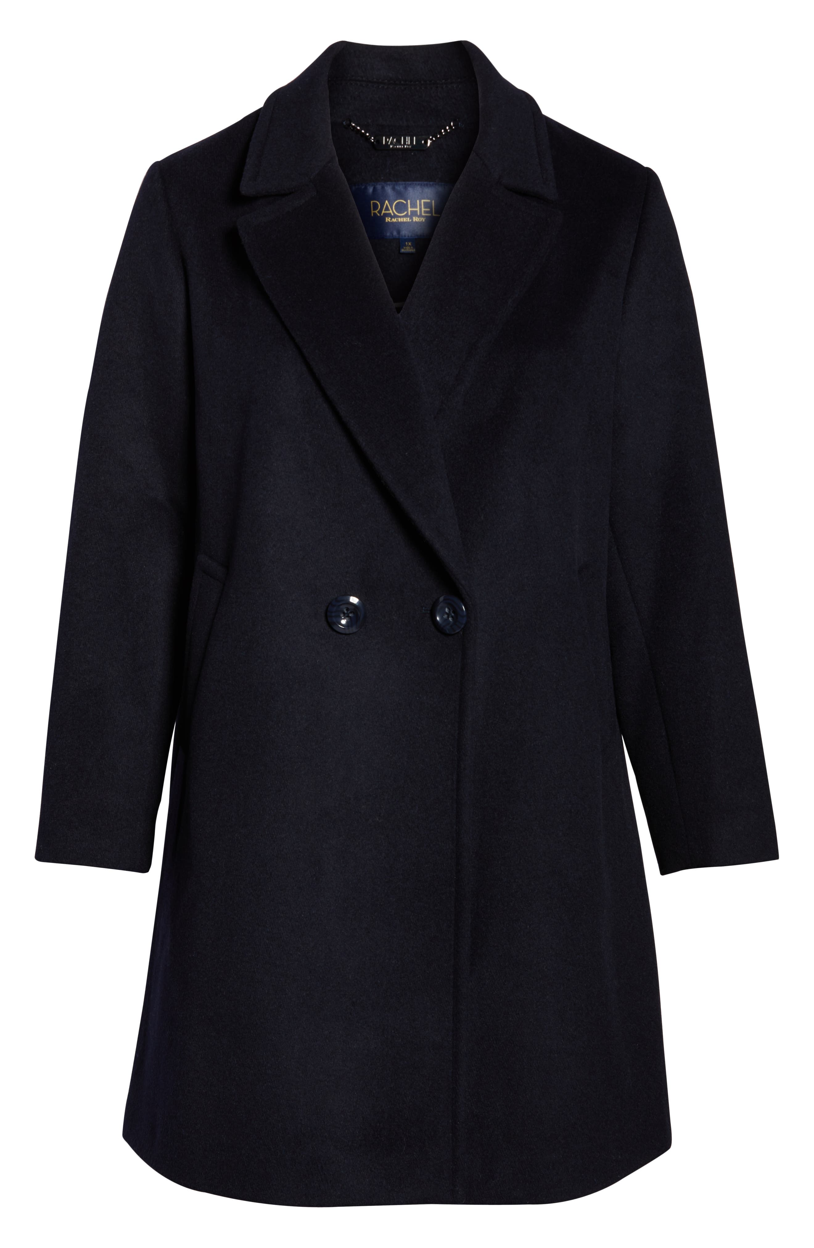 Wool Blend Notch Collar Coat,                             Alternate thumbnail 6, color,                             NAVY