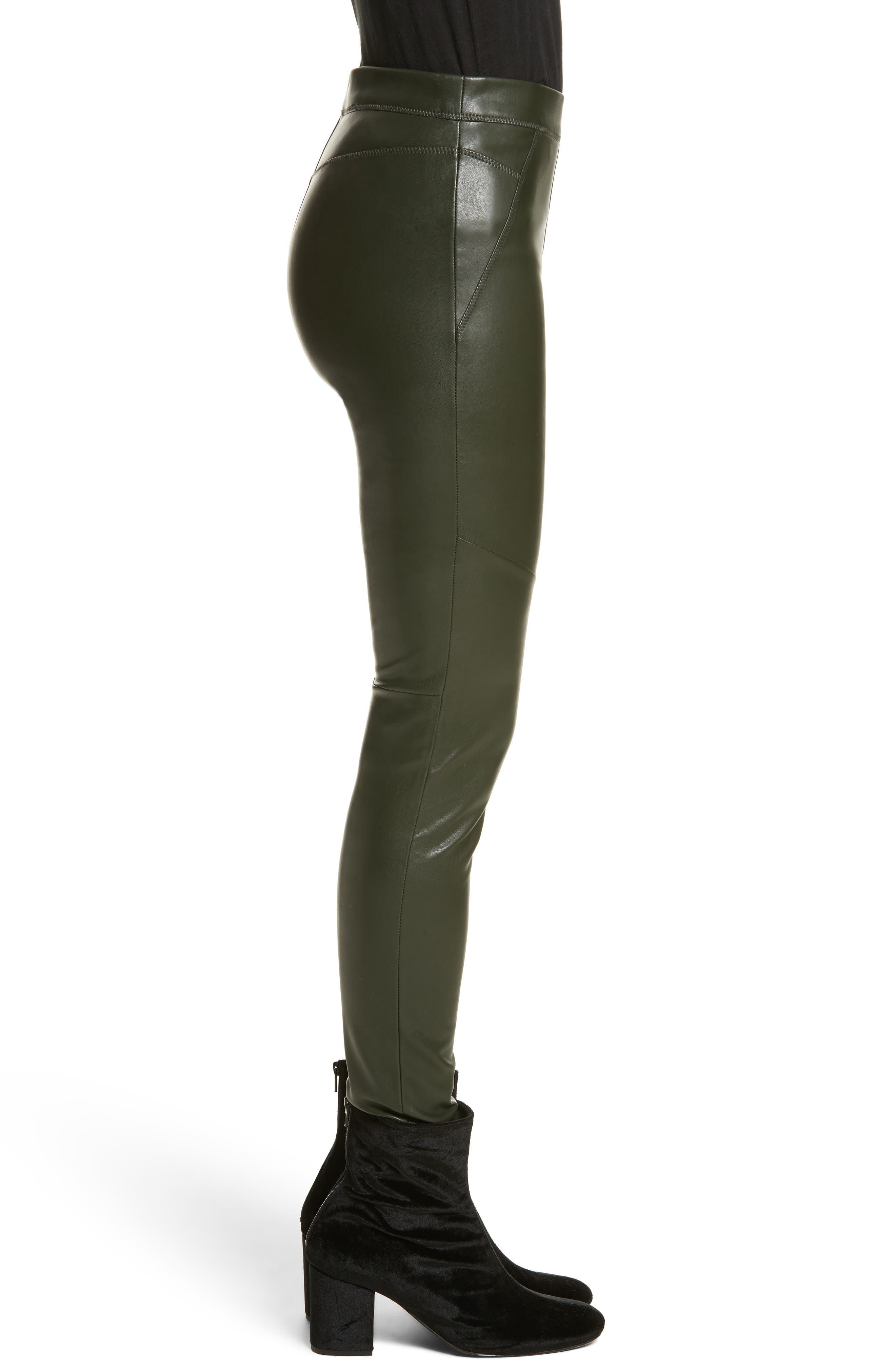 Faux Leather Leggings,                             Alternate thumbnail 3, color,                             303