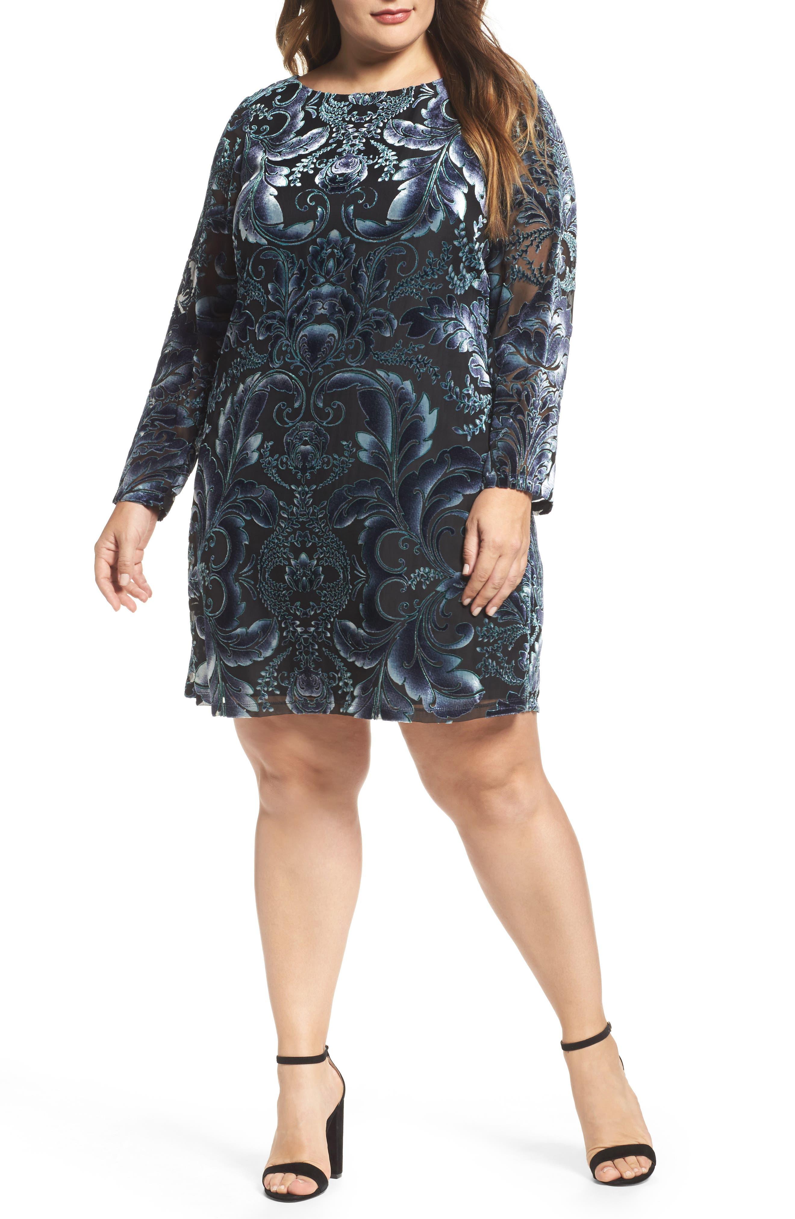 Burnout Velvet Sheath Dress,                             Main thumbnail 1, color,                             004