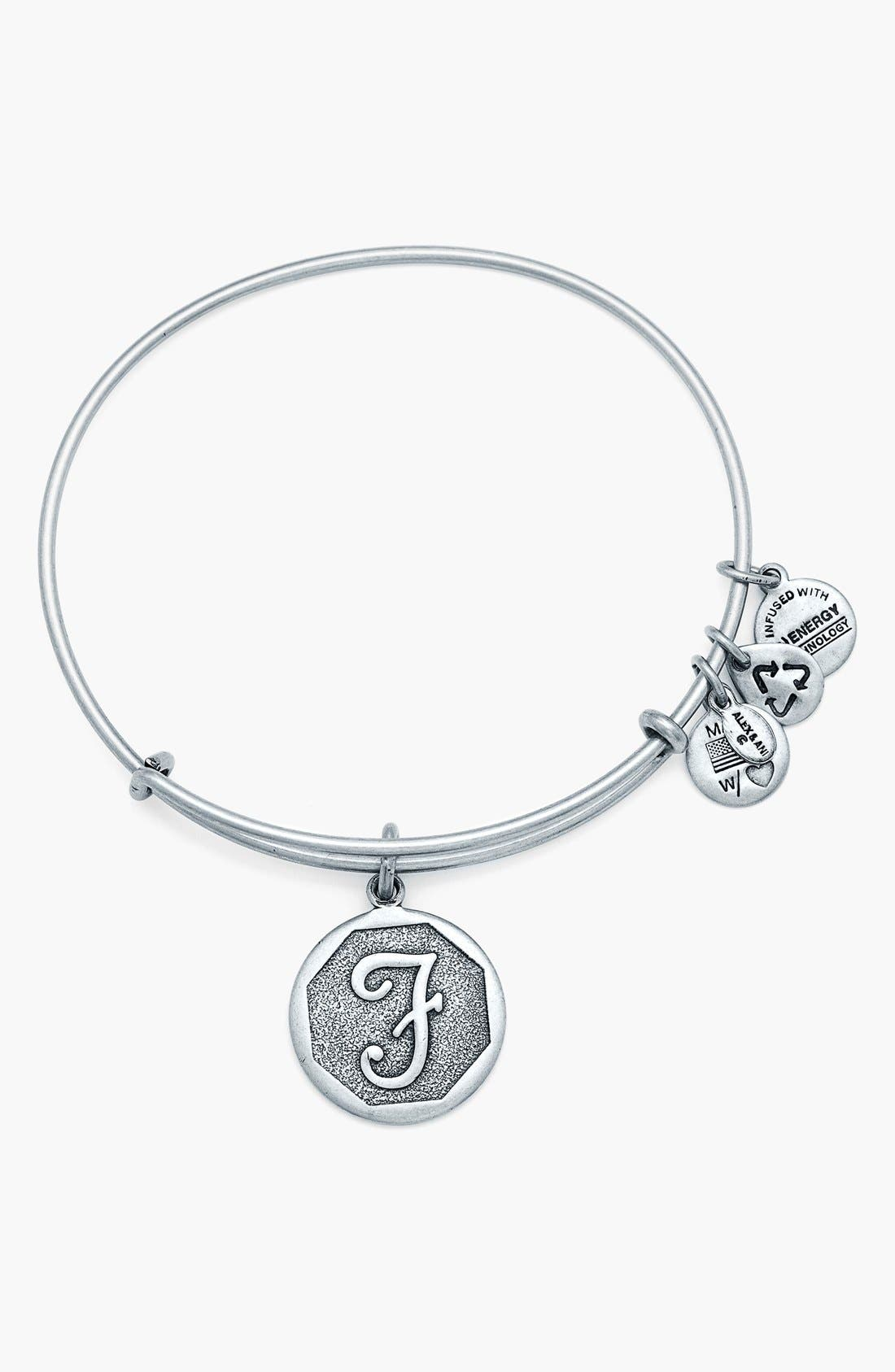 'Initial' Adjustable Wire Bangle,                             Main thumbnail 7, color,