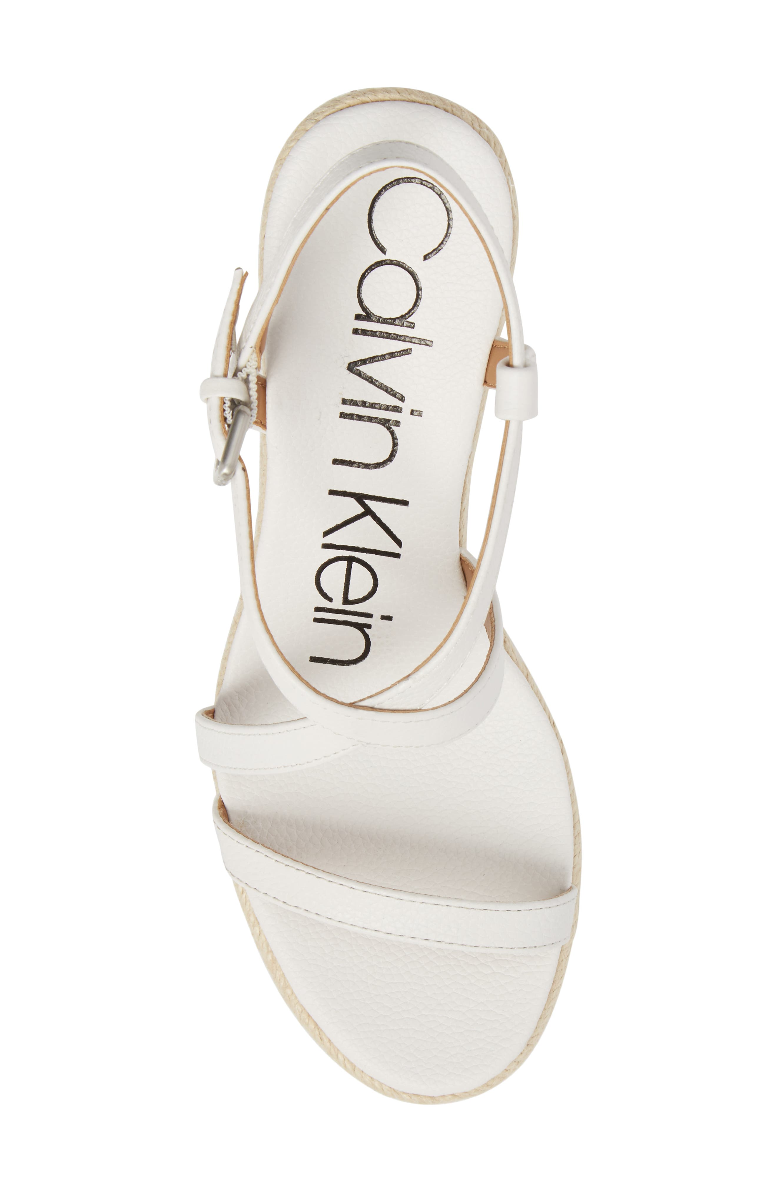 Bellemine Espadrille Wedge Sandal,                             Alternate thumbnail 5, color,                             PLATINUM WHITE PEBBLE LEATHER