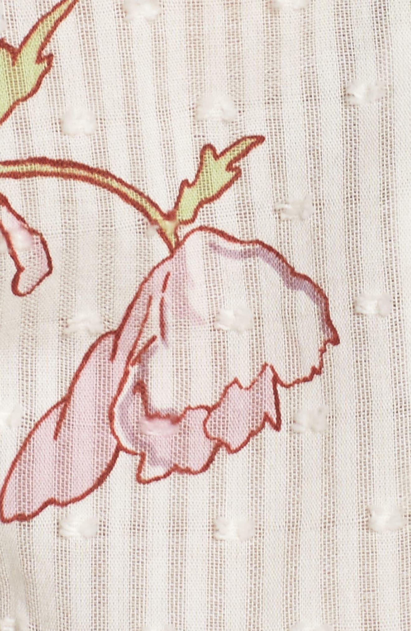 Yardley Floral Minidress,                             Alternate thumbnail 6, color,                             WHITE / MAUVE SHADOWS