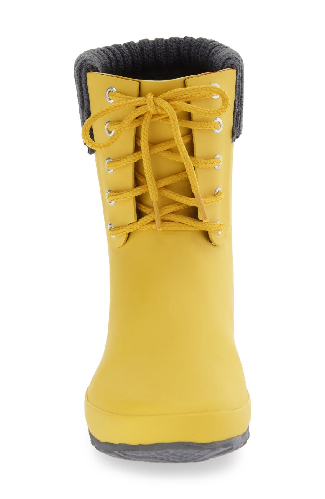 Lace-Up Weatherproof Rain Boot,                             Alternate thumbnail 3, color,                             BUTTER YELLOW