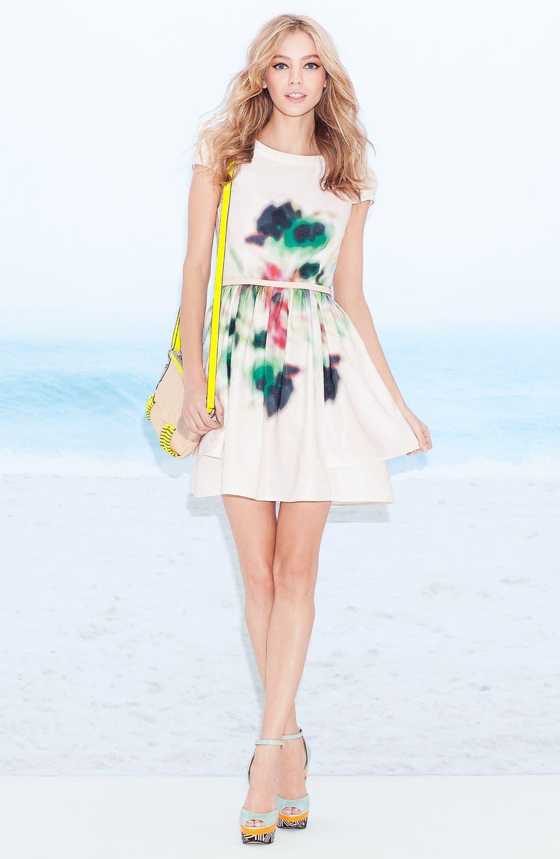 Layered Print Fit & Flare Dress,                             Main thumbnail 1, color,                             100