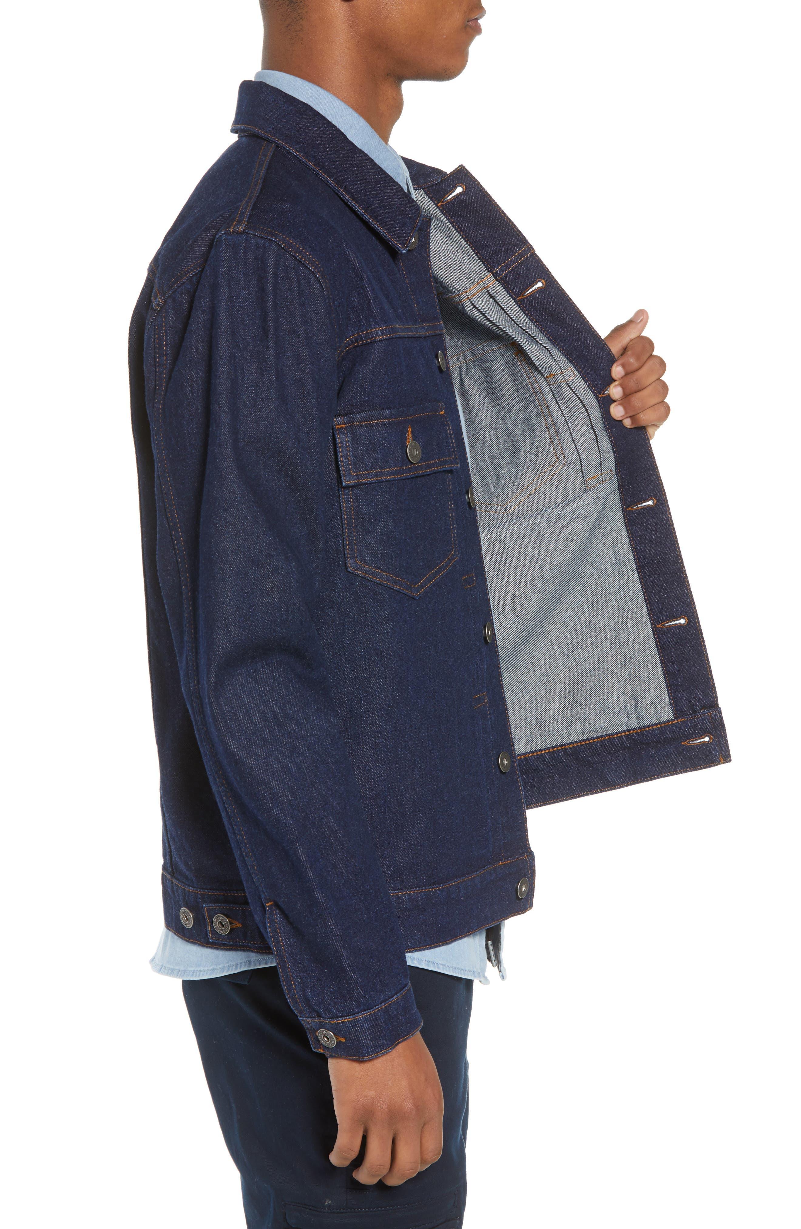 Raw Denim Jacket,                             Alternate thumbnail 3, color,                             DARK BLUE