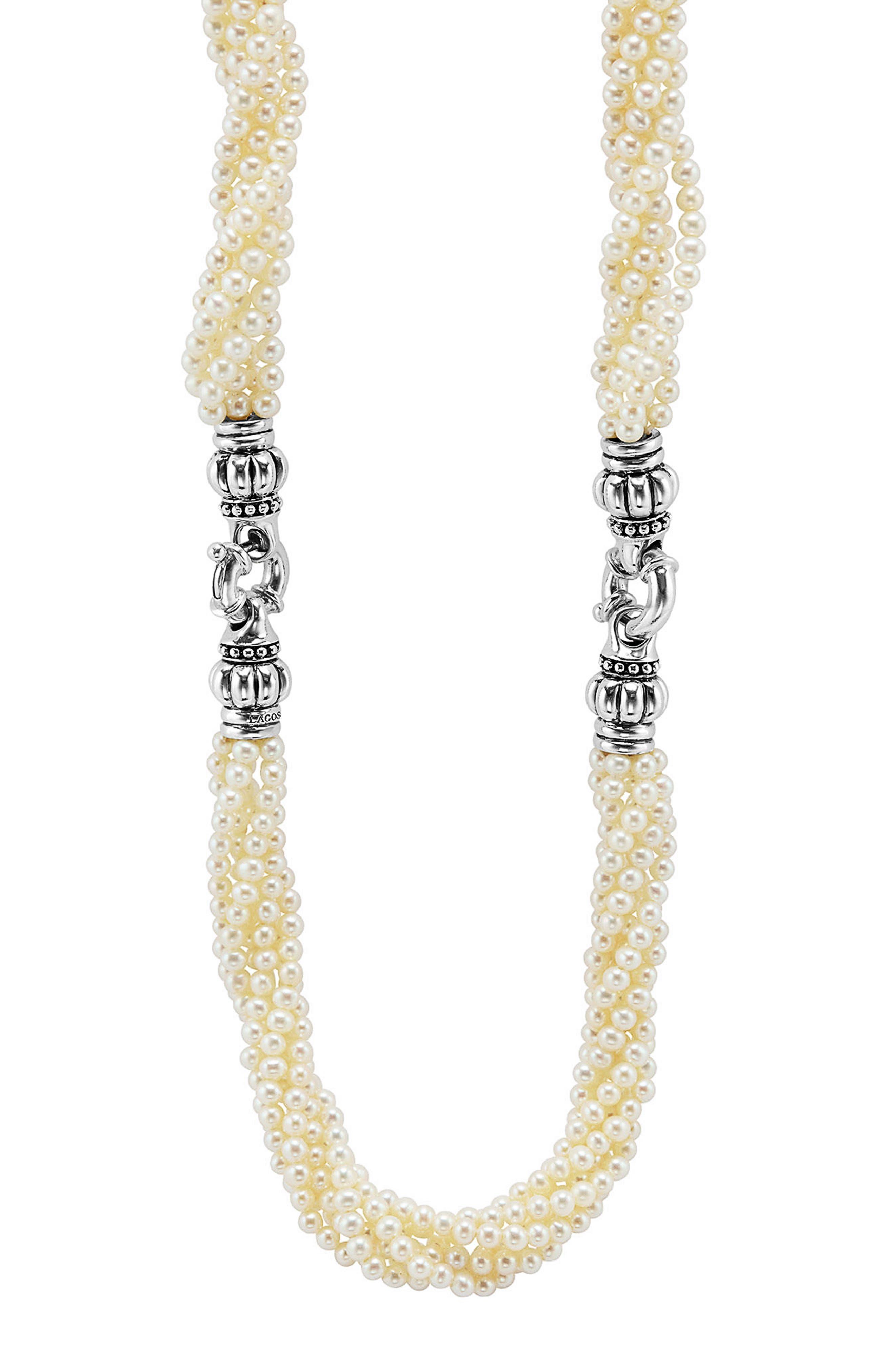 Luna Pearl Convertible Bracelet & Necklace,                         Main,                         color, 040