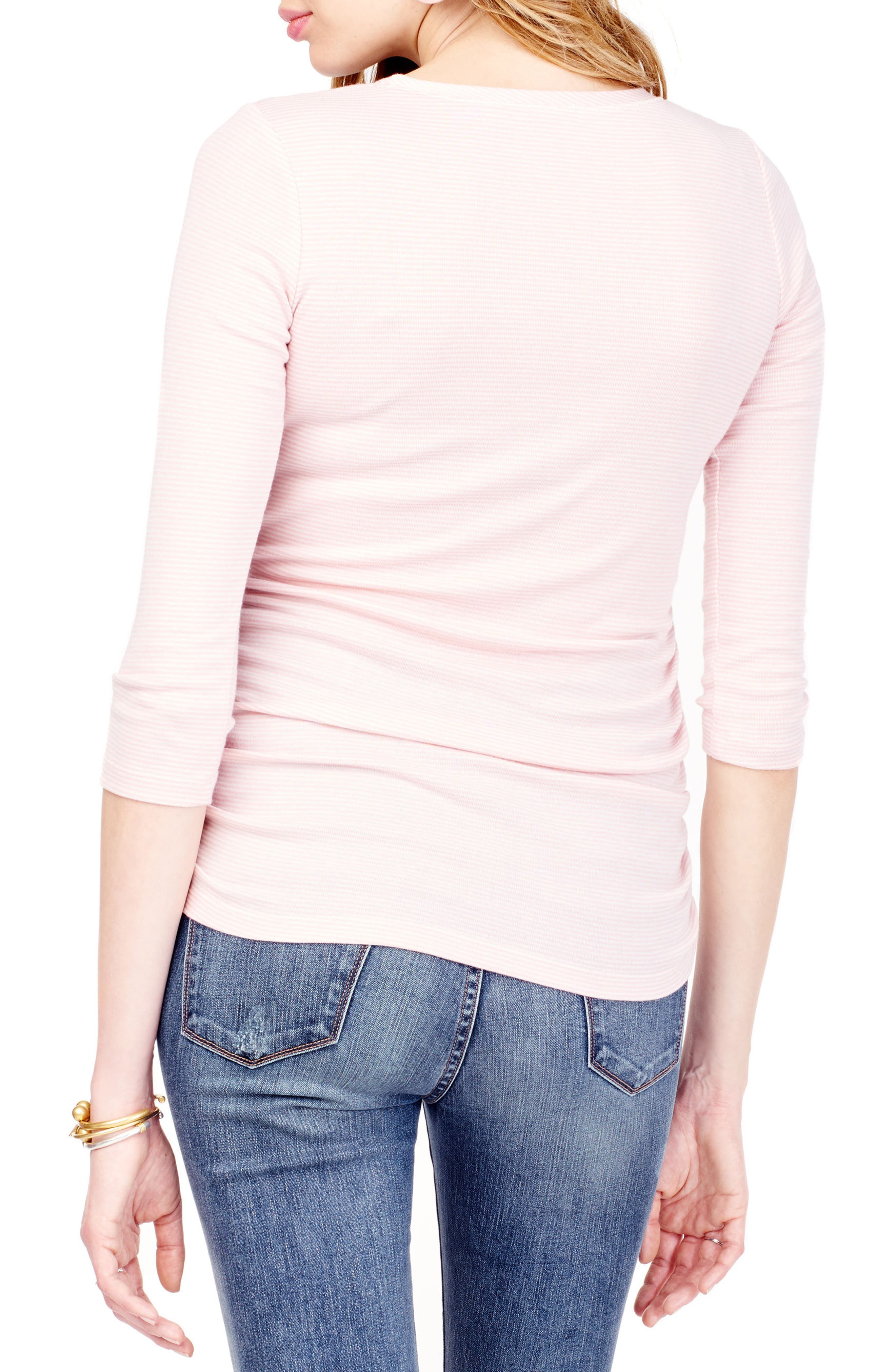Ruched Maternity Top,                             Alternate thumbnail 2, color,                             BLUSH/ OATMEAL MICRO STRIPE